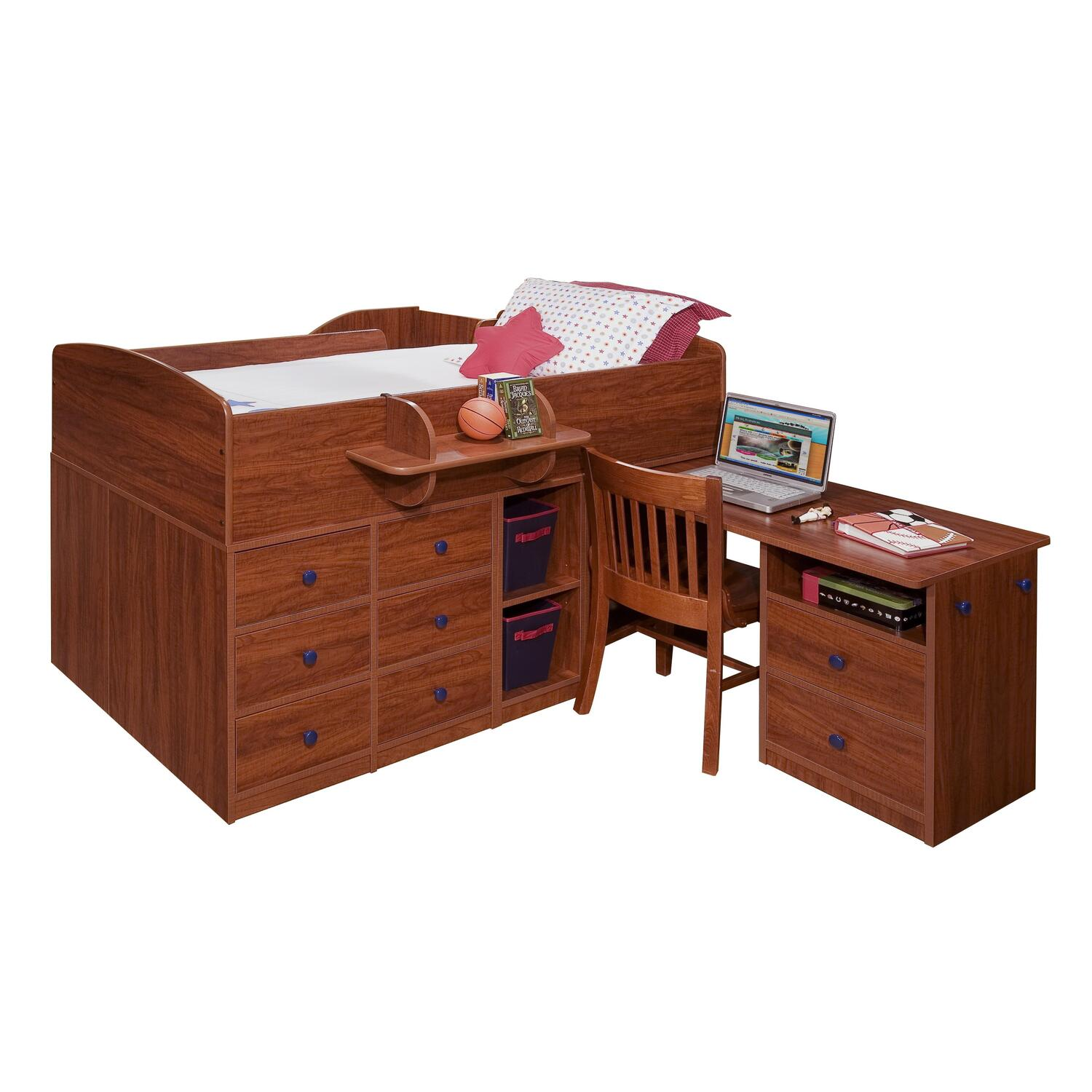 Berg Furniture Captain's Bed Twin with PullOut Desk Stairs on Back Natural Maple Antique Bronze Chestnut