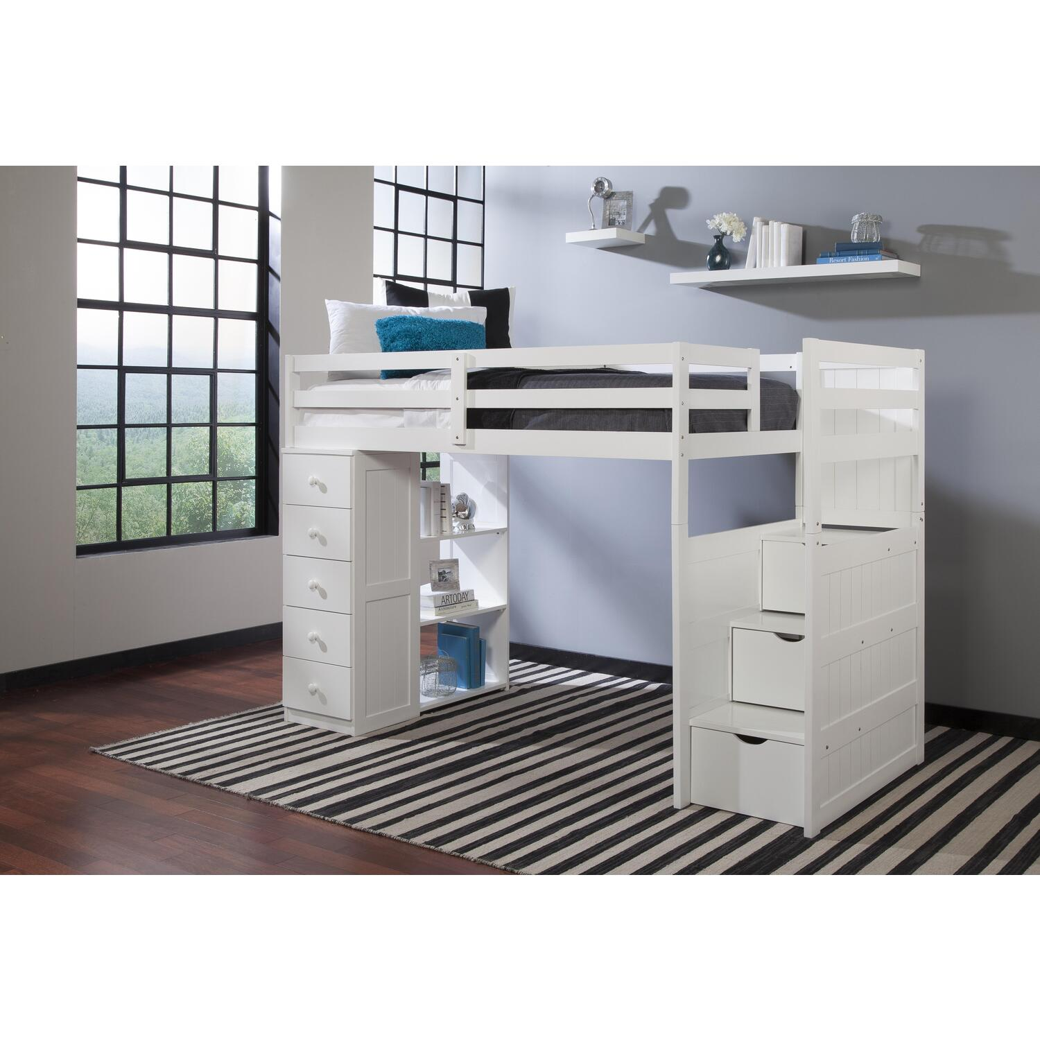 canwood mountaineer twin loft bed with storage tower and built in stairs drawers ojcommerce. Black Bedroom Furniture Sets. Home Design Ideas