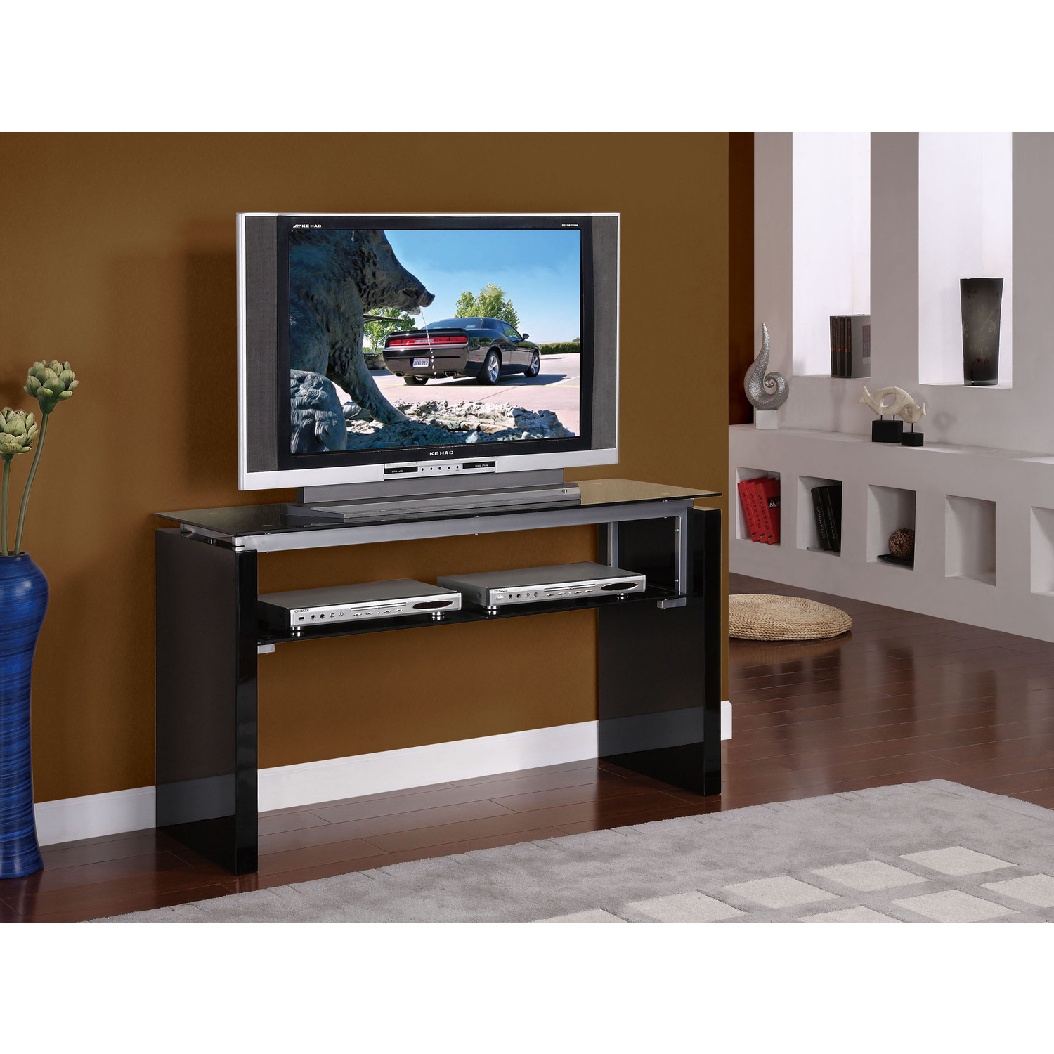 open tv stand  probrainsorg -  gloss black open console tv stand