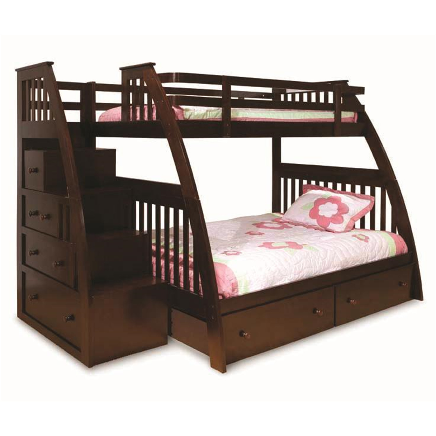 Canwood Ridgeline Twin over Full Bunk Bed with Built in Stairs