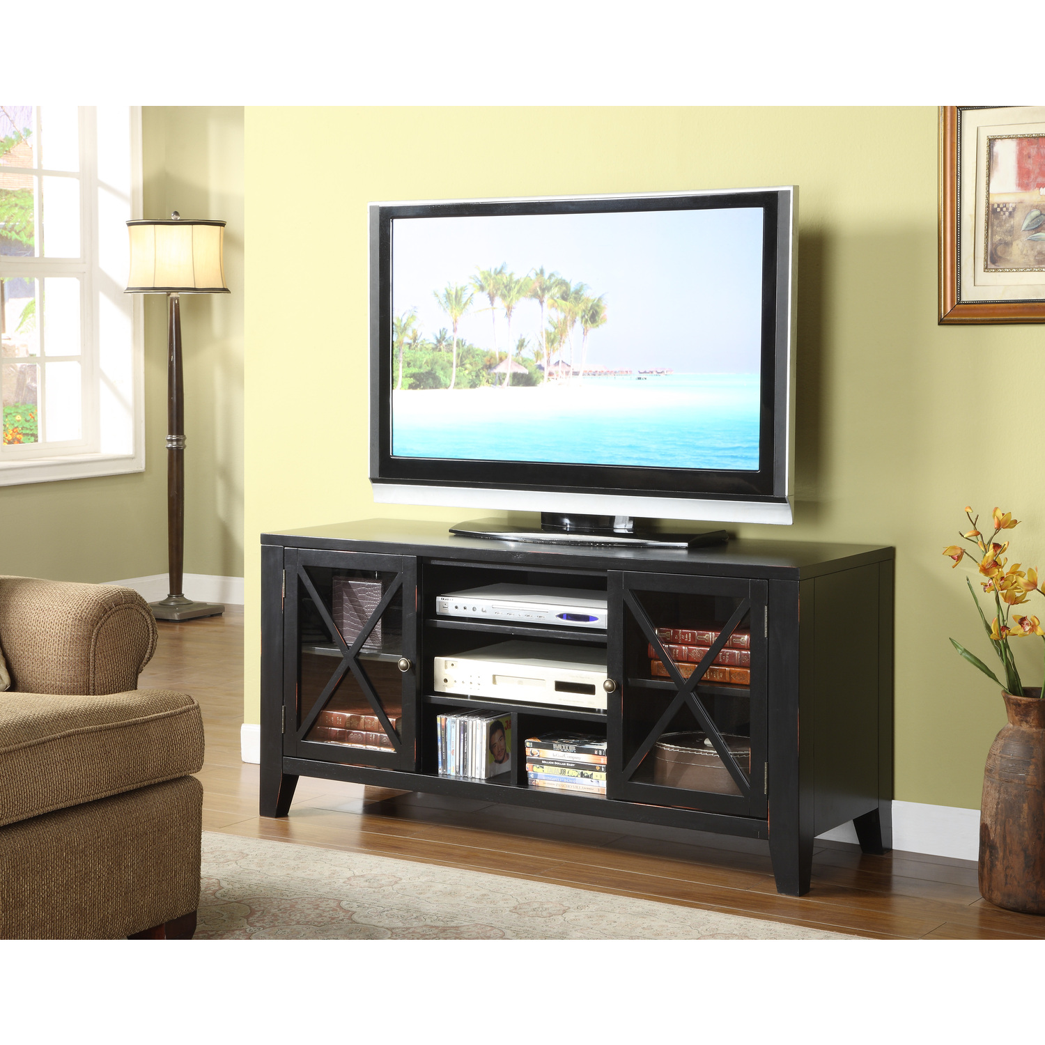 black painted x front distressed tv stand 257 854 - Painted Tv Consoles