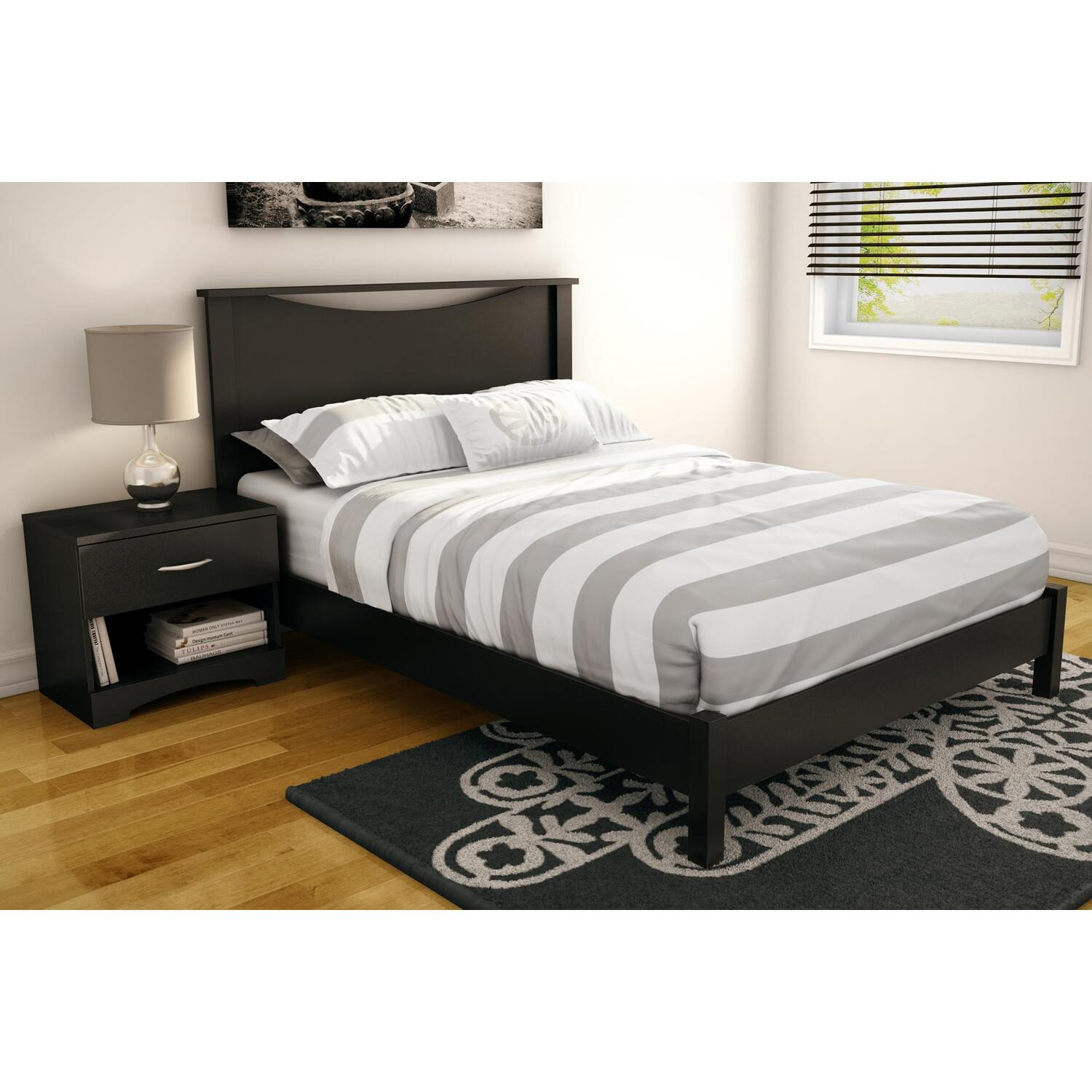 Step One Full Platform Bed Amp Headboard In Pure Black Ojcommerce