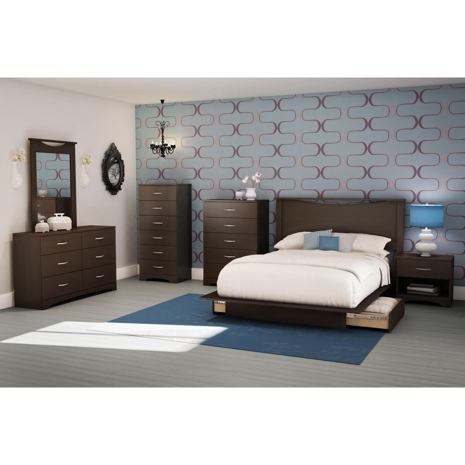 Charmant Back Bay Full/Queen Platform 7 Piece Bedroom Set   [3159FQ7PC]
