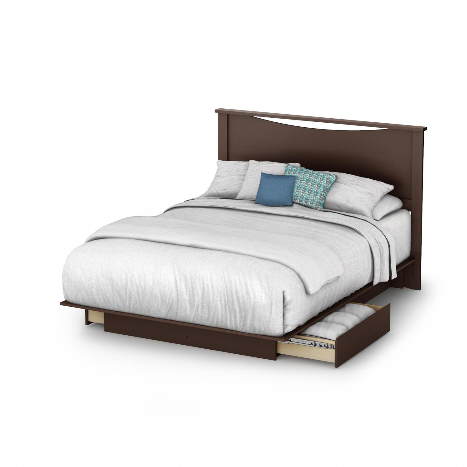 ... Shore 3159QPBD Back Bay Queen Platform Bed (w/ Drawers) & Headboard