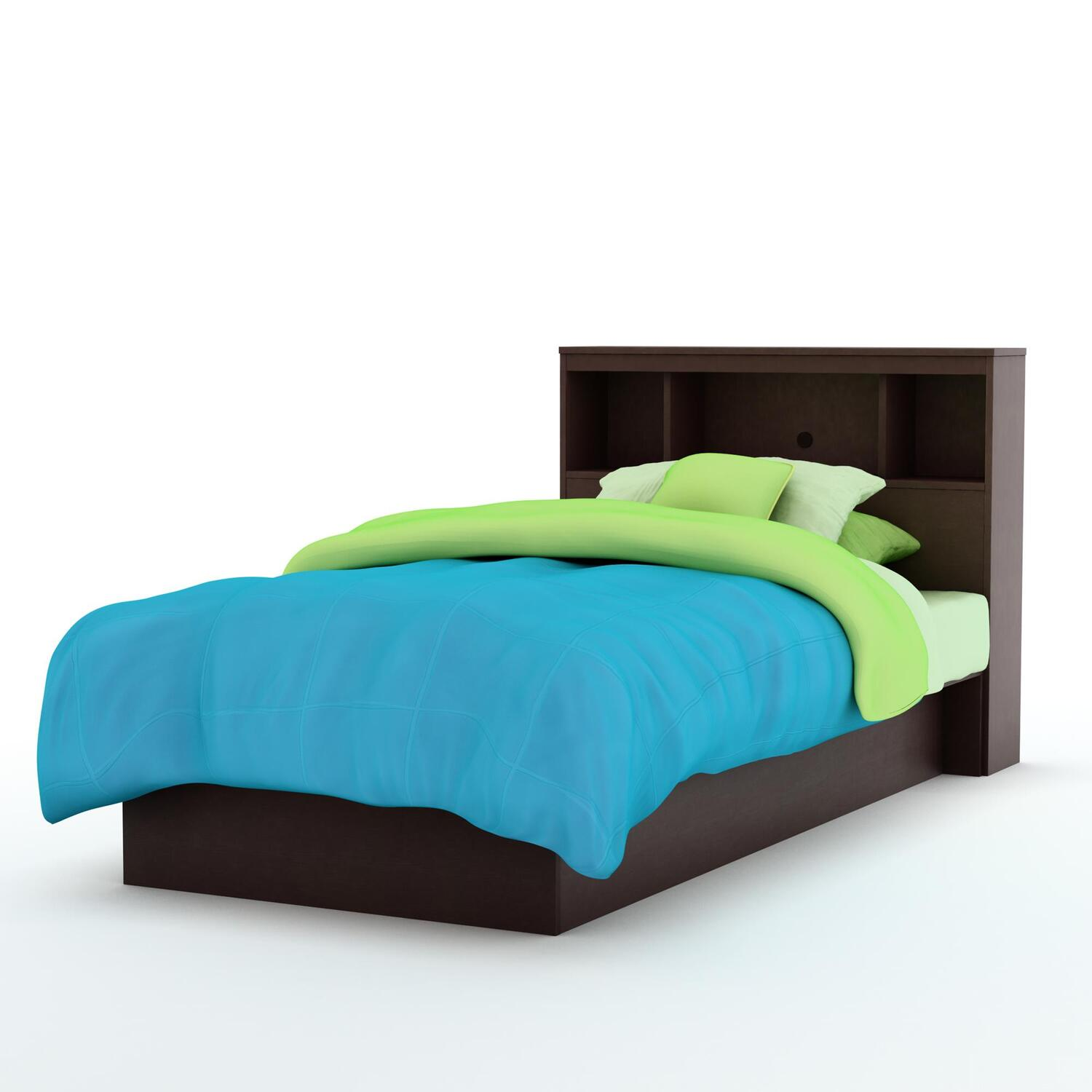 Libra twin platform bed bookcase headboard for Bookshelf bed headboard