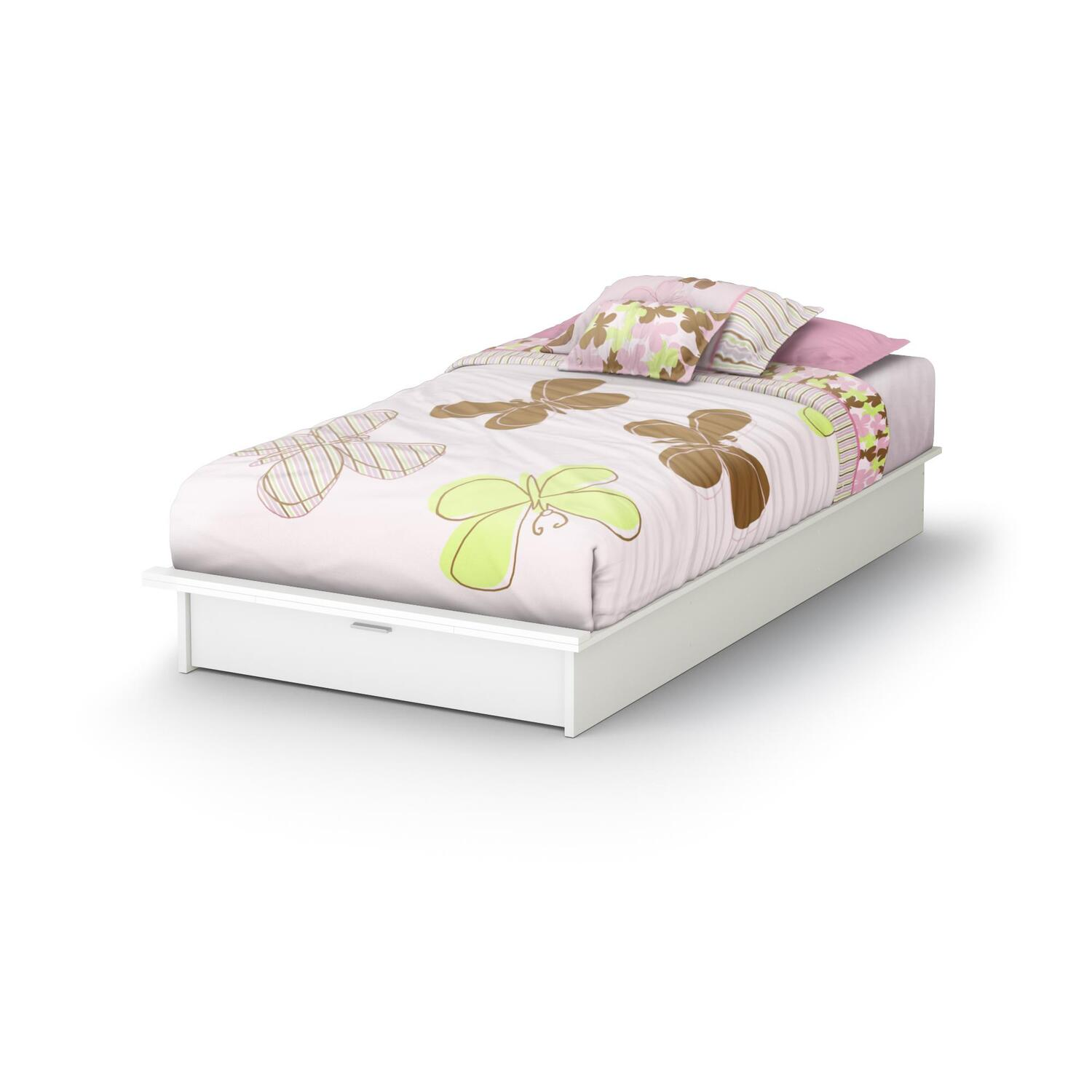 Step One Twin Platform Bed 39 With Drawer In Pure White Ojcommerce
