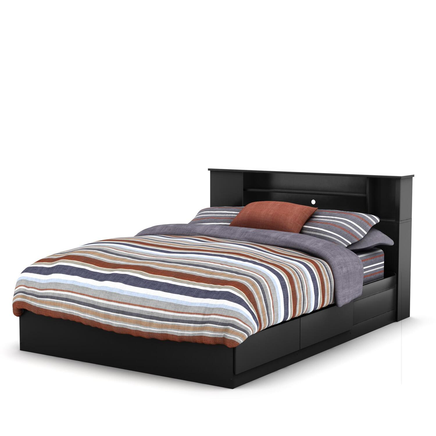 Vito Queen Bed Bookcase Headboard 3170qblk