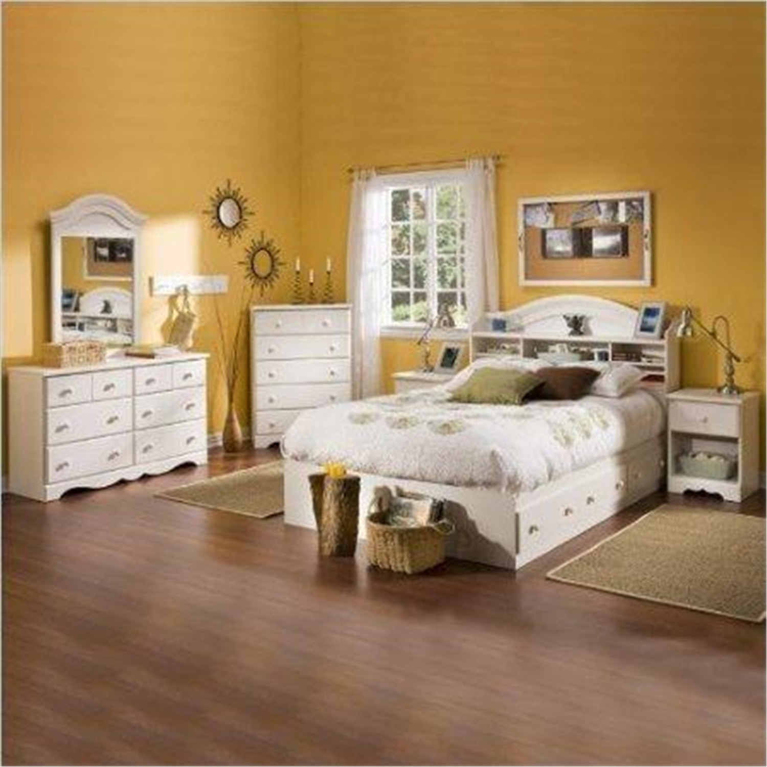 Kids full wood bookcase bed 4 piece bedroom set in white - South shore 4 piece bedroom furniture set ...