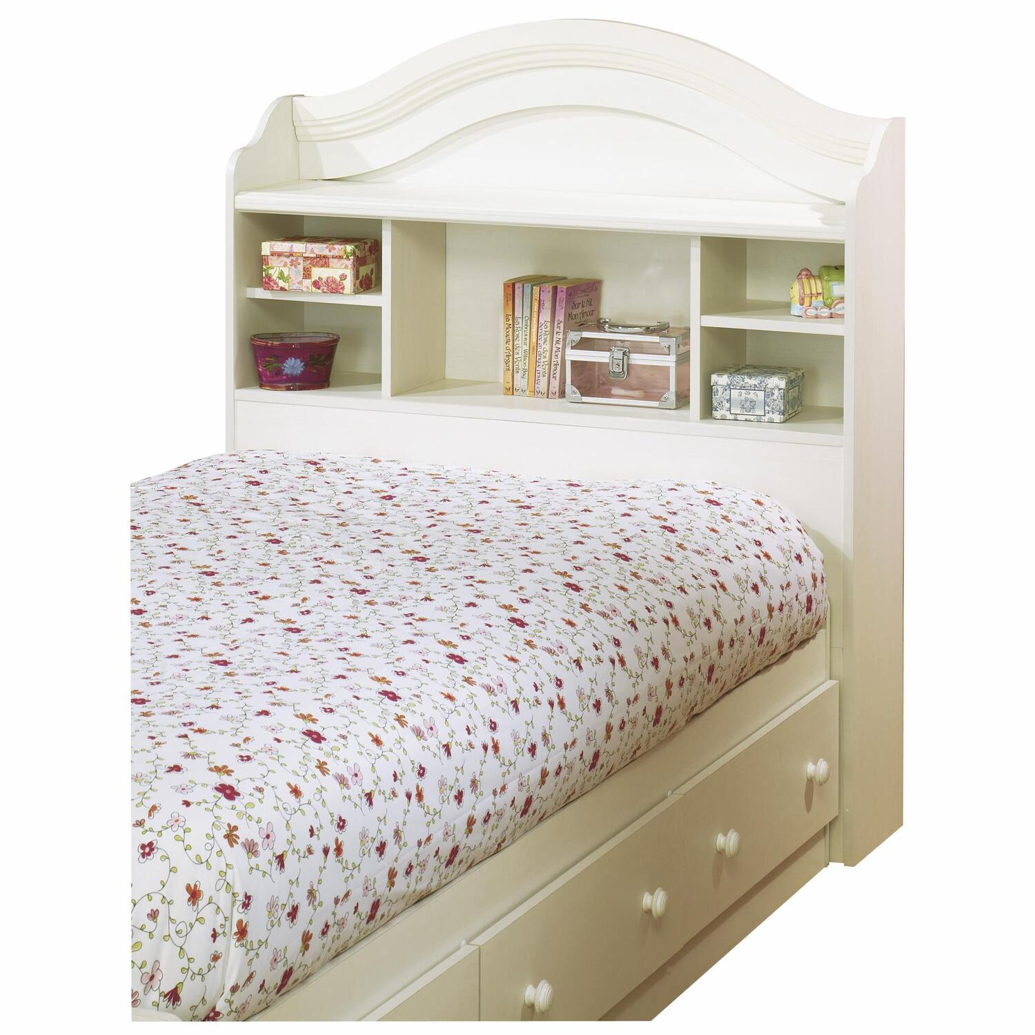 Twin bookcase headboard and storage bed in white wash for Bookshelf bed headboard