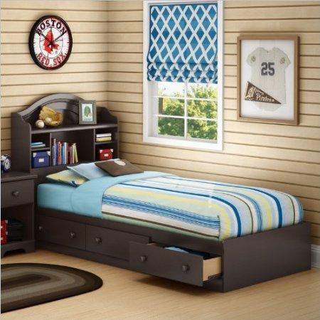 Twin Bookcase Storage Bed Set in Chocolate Finish - South Shore Twin Bookcase Storage Bed Set In Chocolate Finish By