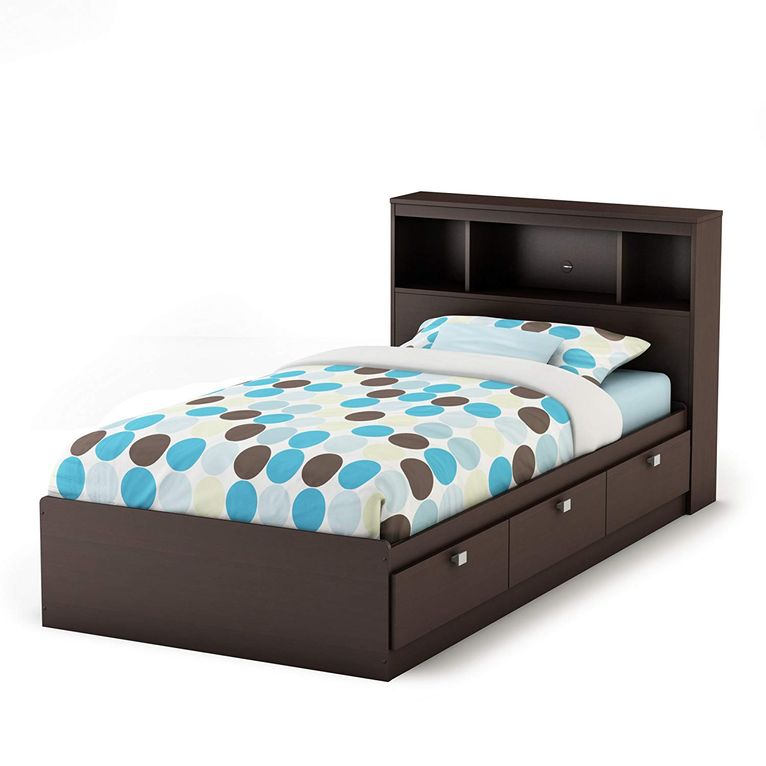 South Shore Twin Mate Captain S Bed With Bookcase Headboard In Chocolate Finish