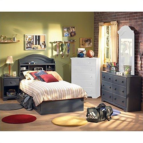 Antique Blue Kids Twin Wood Captain\'s Bed 4 Piece Bedroom Set