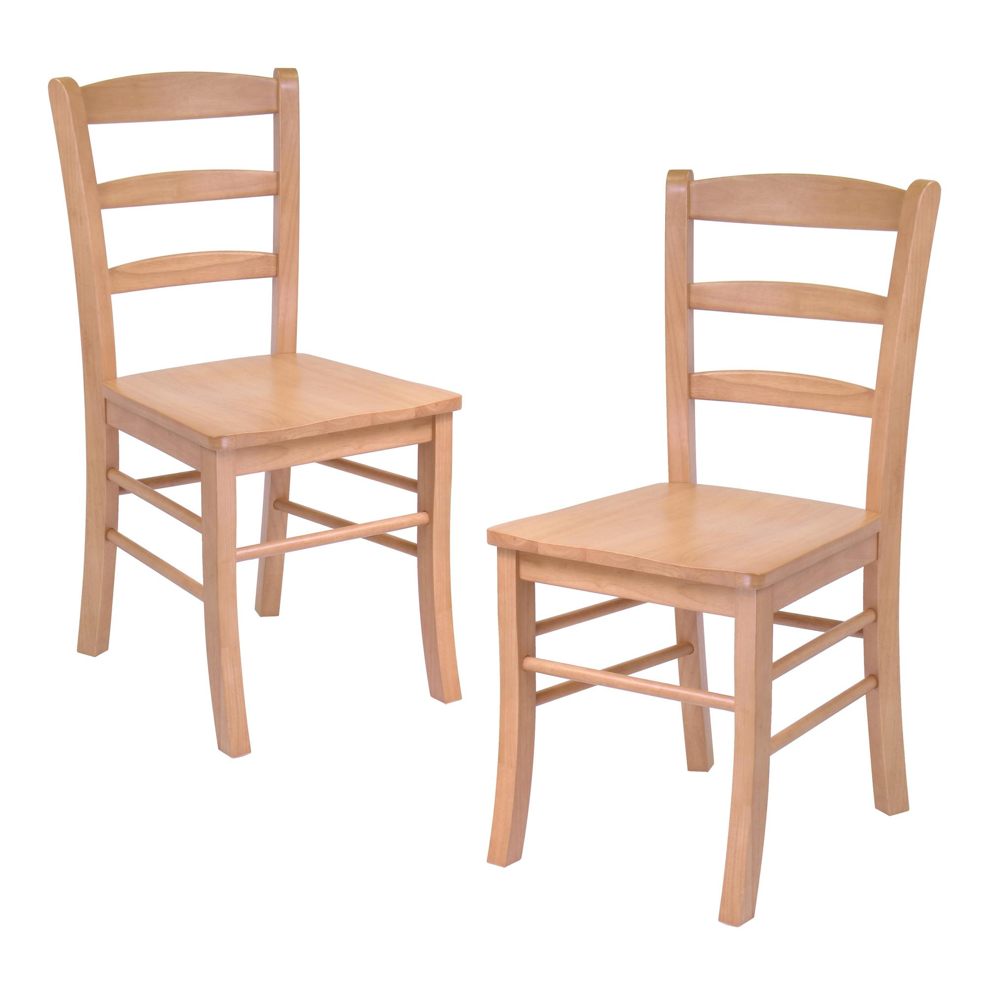 Hannah dining wood side chairs in light oak finish set of for Dining room end chairs
