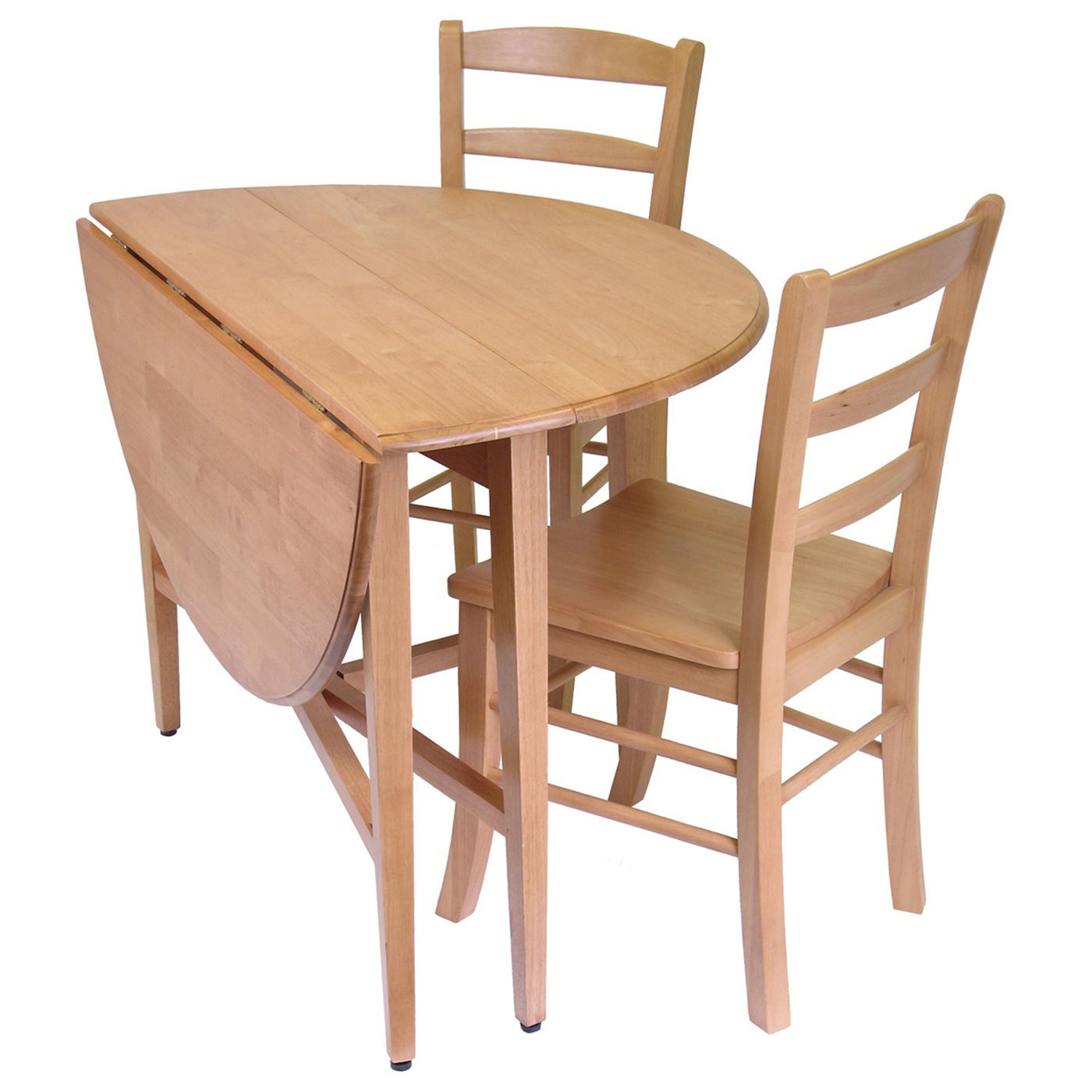 Hannah 3pc Dining Set Drop Leaf Table with 2 Ladder Back Chairs