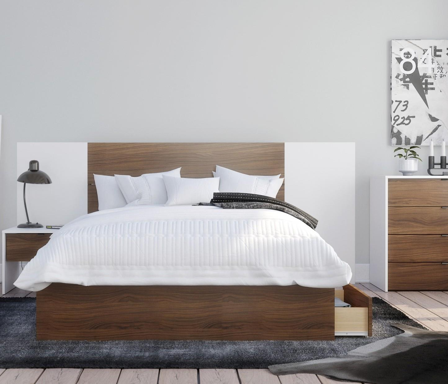 Foliage Full Size Bedroom Set #402093 from Nexera, White melamine and  walnut laminate finish. When buying online