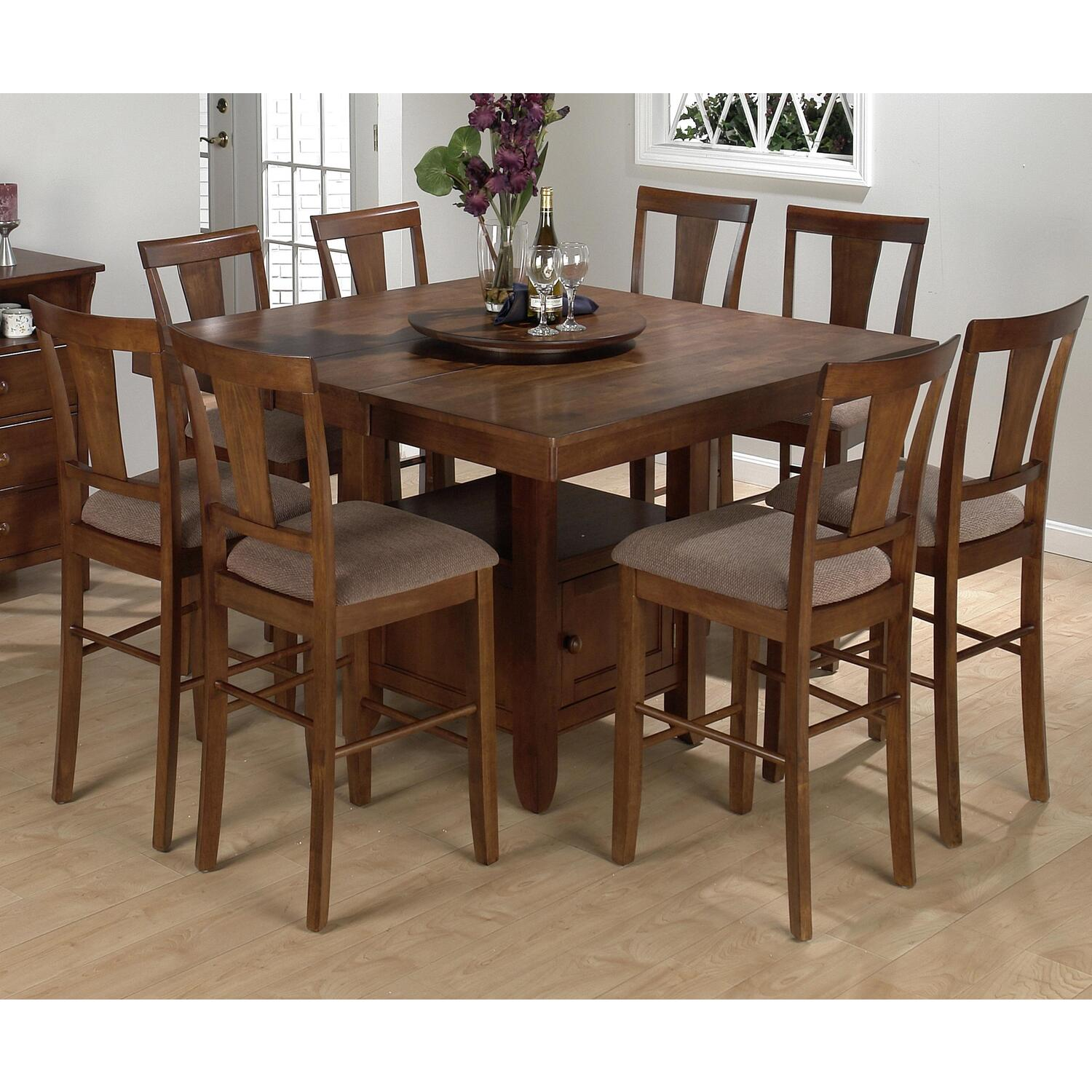 Saddle Brown Oak Finished Square Counter Height 9 Piece