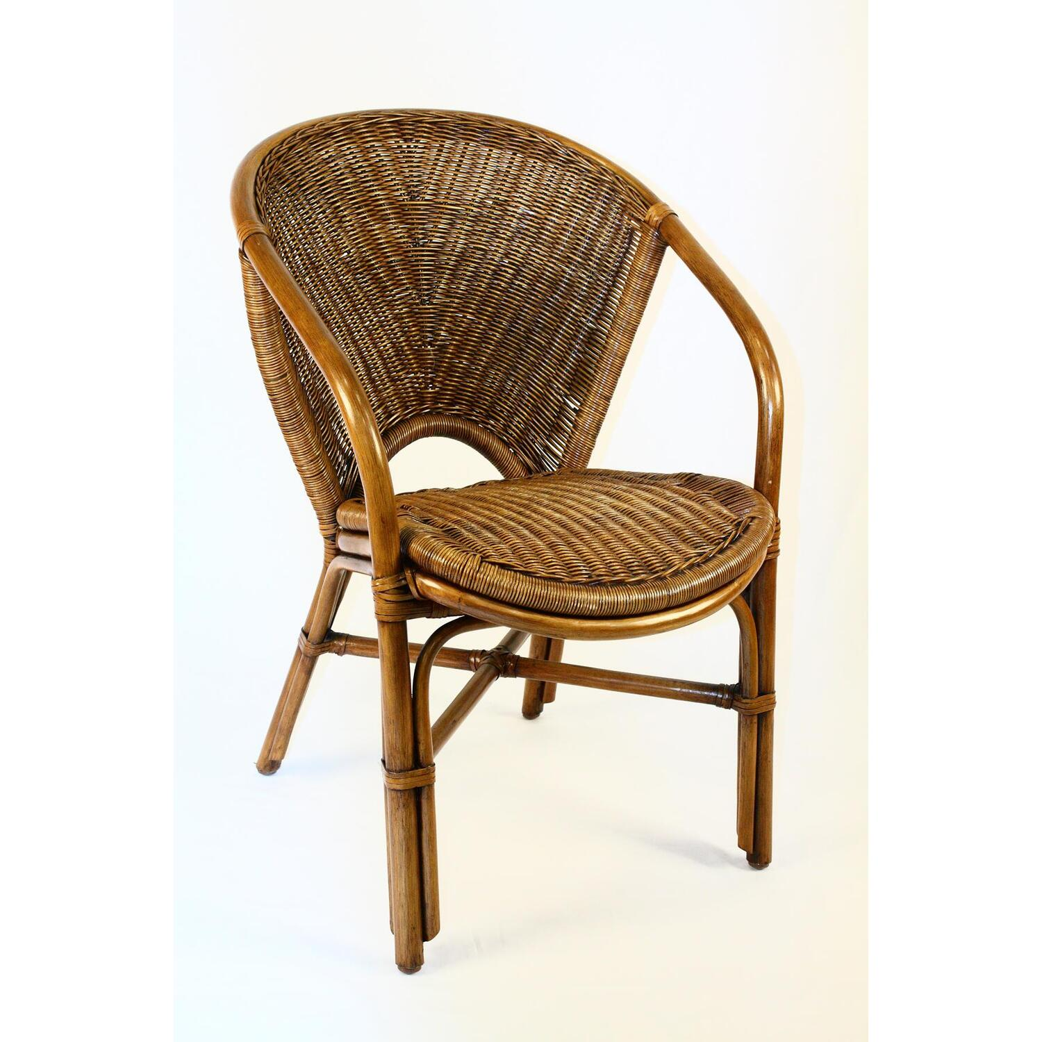 Indoor rattan wicker arm chair ojcommerce for Cane and wicker world