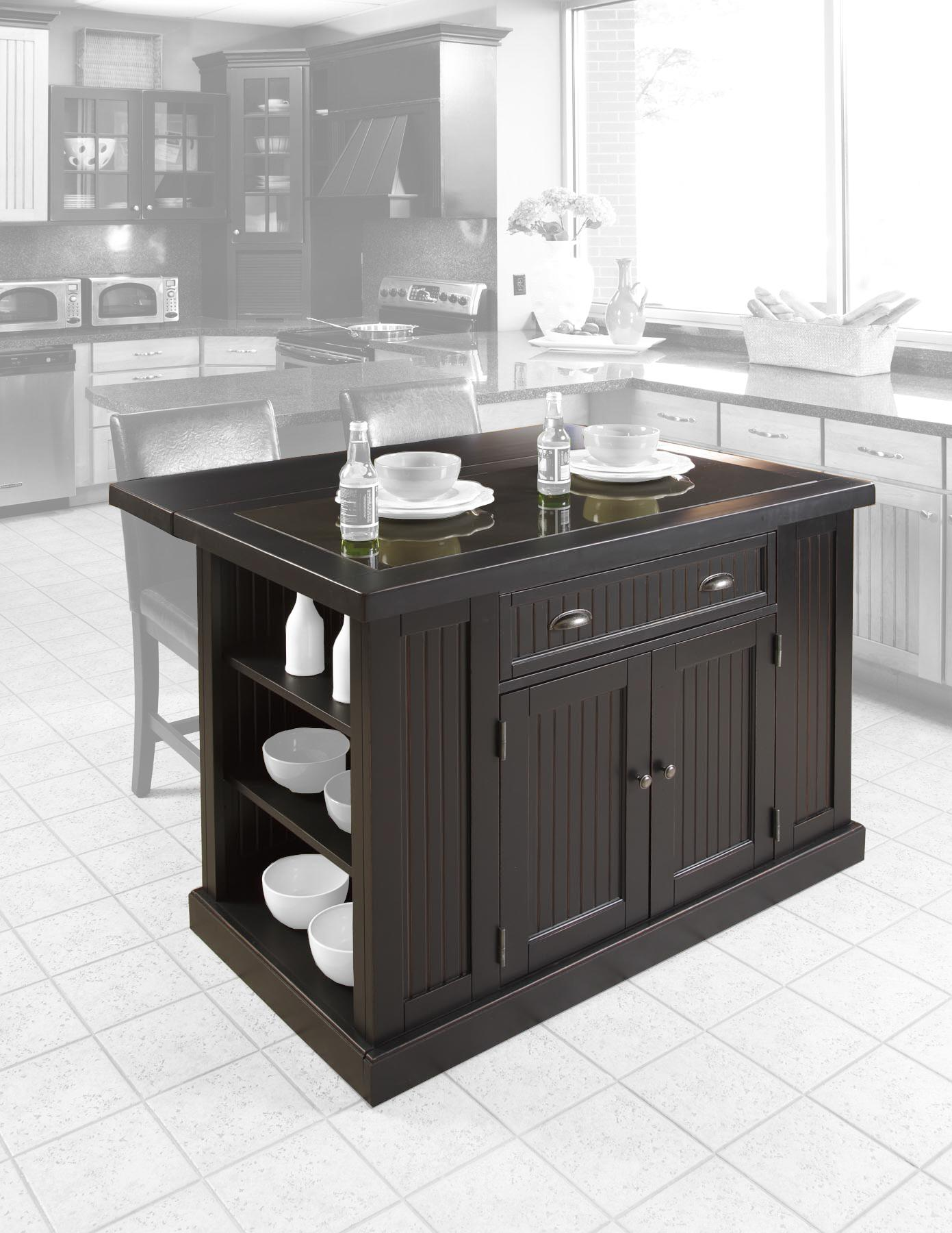 nice Nantucket Distressed Black Finish Kitchen Island #1: Home Styles 5033 94 Nantucket Kitchen Island Distressed Finish