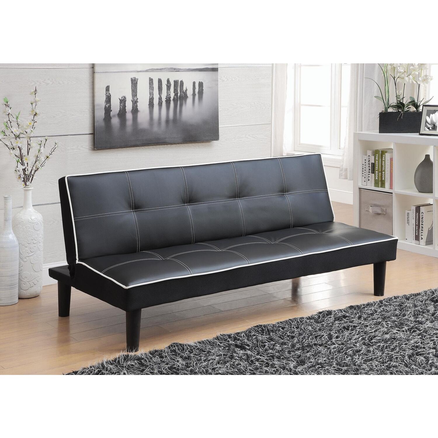 Fantastic Coaster Contemporary Black Faux Leather Sofa Bed Black Contemporary Black Caraccident5 Cool Chair Designs And Ideas Caraccident5Info