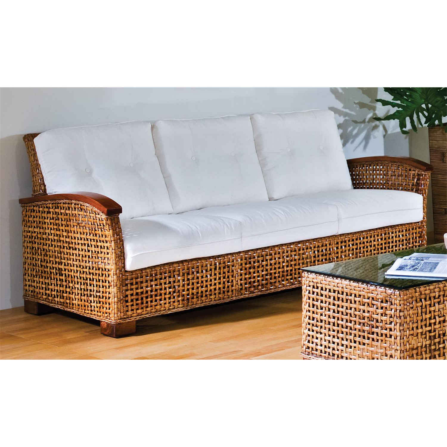 Rattan Amp Wicker Sofa With Cushions Ojcommerce