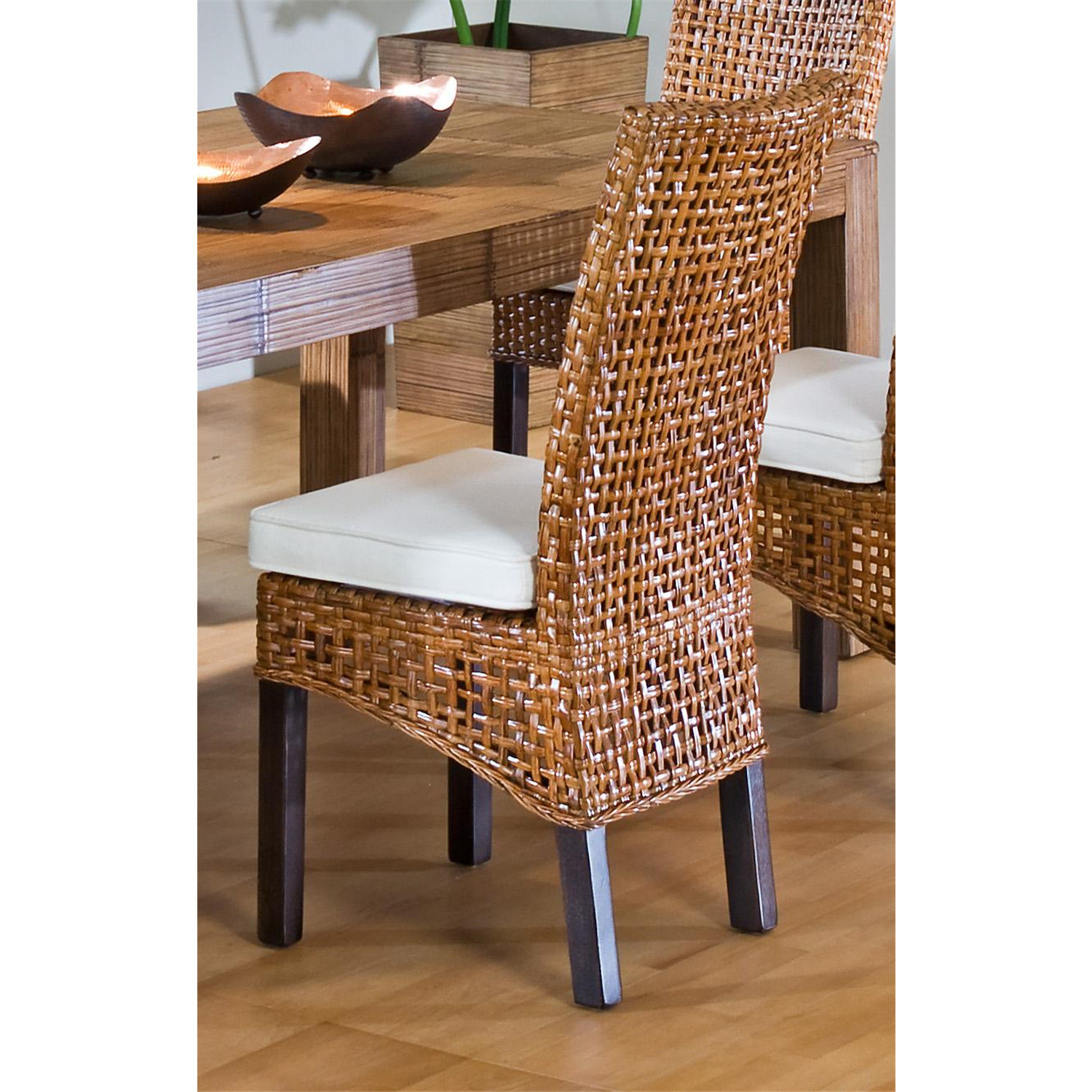 Indoor Rattan Amp Wicker Side Chair With Cushion Ojcommerce