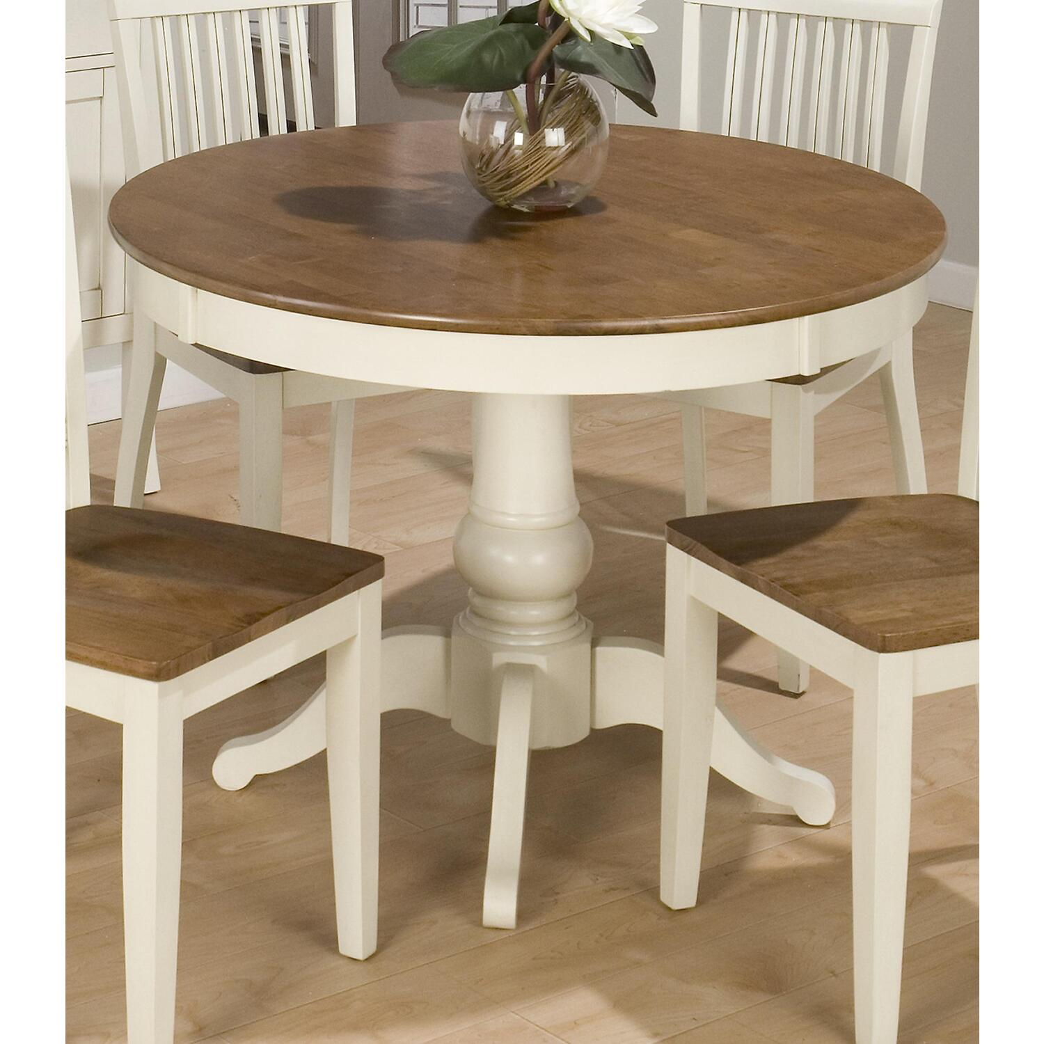 antique honey vintage white finished 42 round dining table ojcommerce. Black Bedroom Furniture Sets. Home Design Ideas