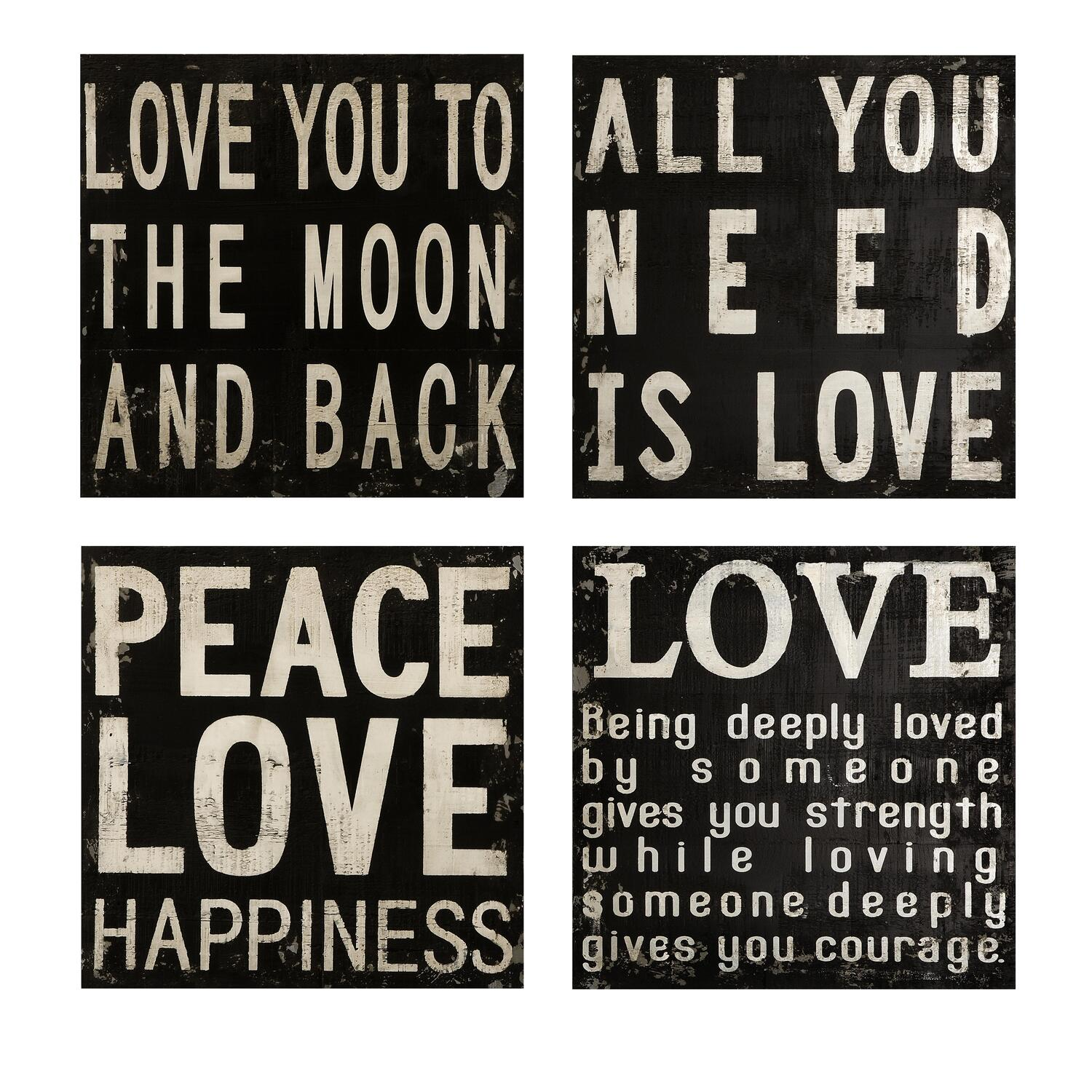 Love Quotes For Wall Art : Collier black and white wall quotes set of ojcommerce