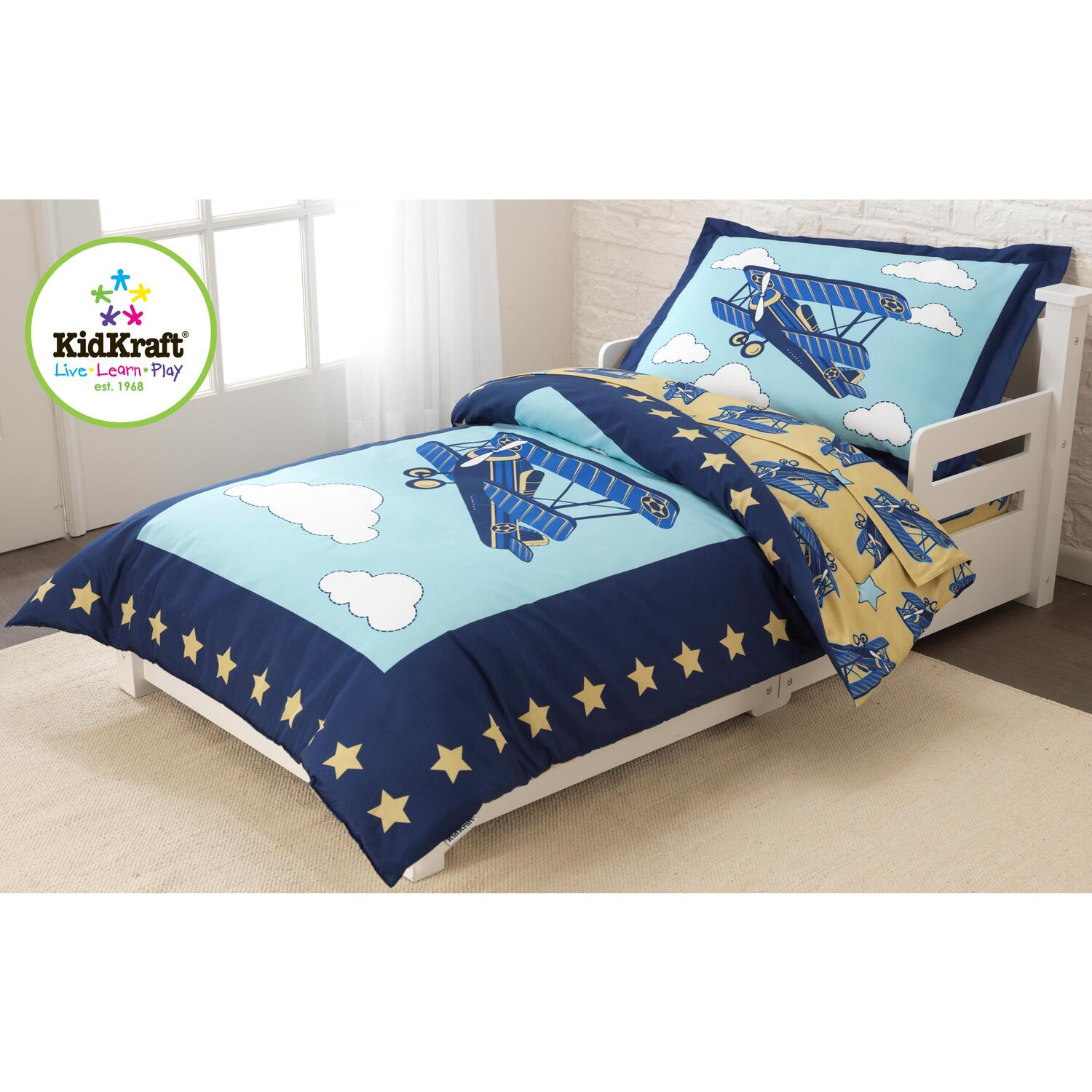 charming Kidkraft Airplane Toddler Bed Part - 15: Airplane Toddler Bedding Set. New. by KidKraft