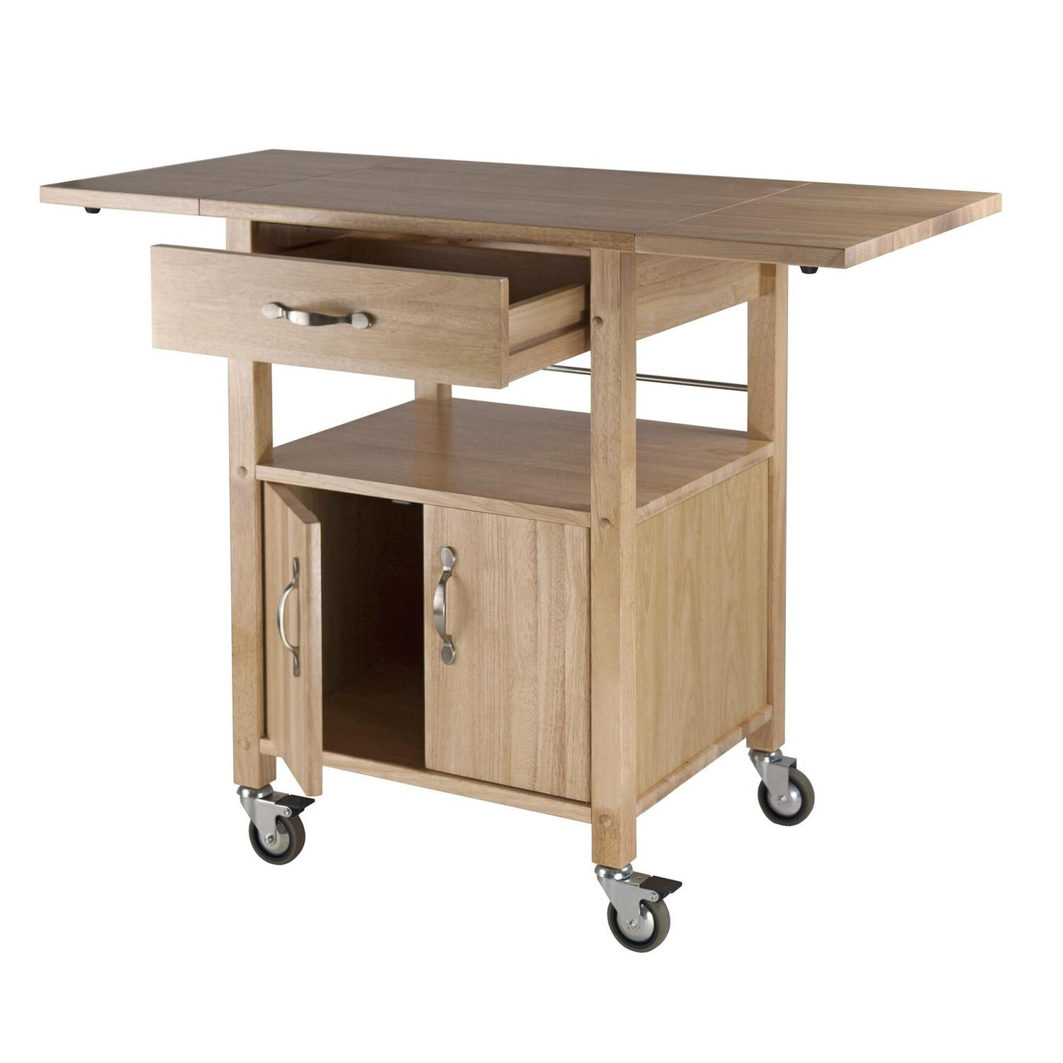 Kitchen Cart, Double Drop Leaf, Cabinet with shelf | OJCommerce