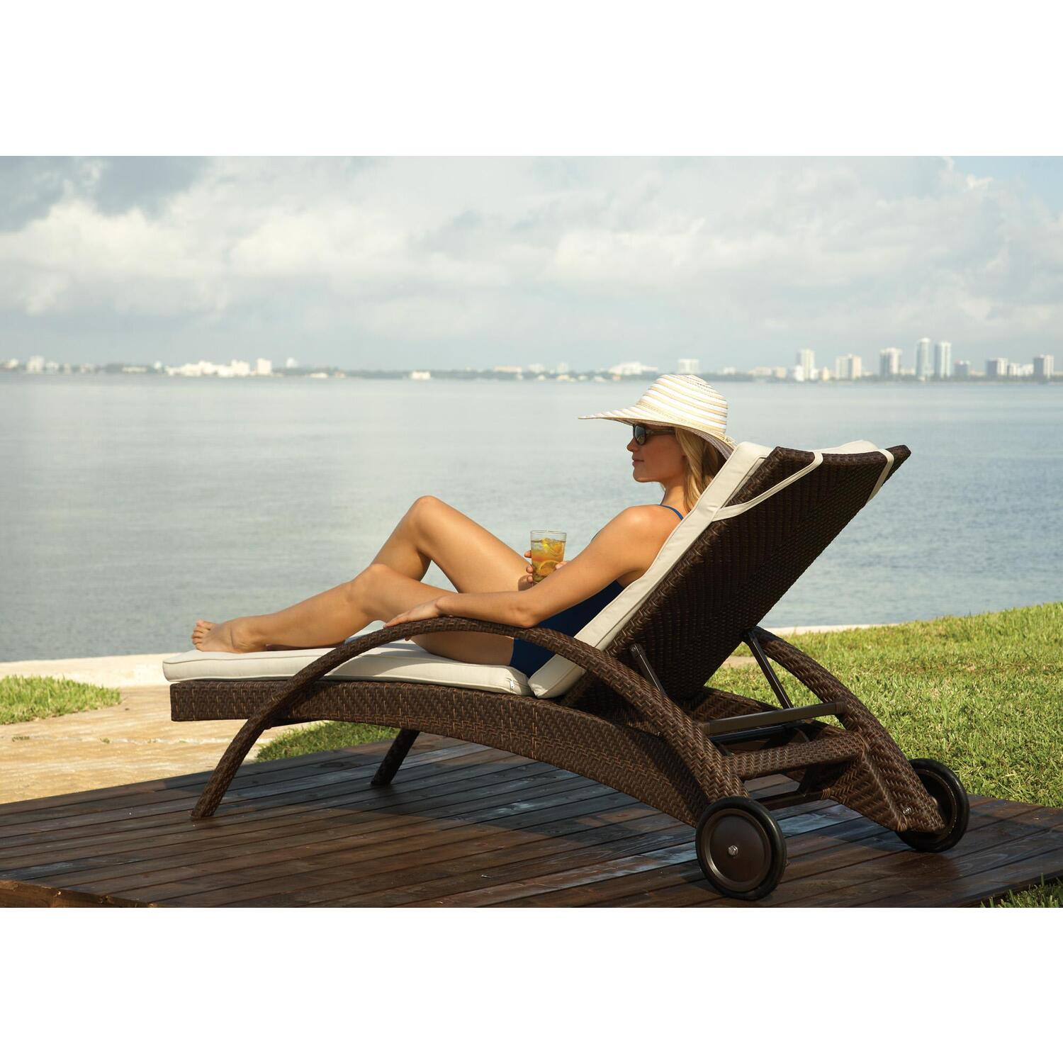 Hospitality Rattan Patio Chaise Lounge with wheels by OJ Commerce