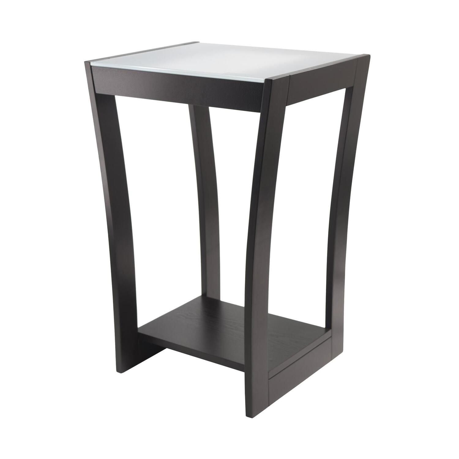 Radius Accent Side Table With Frosted Glass And Curved Legs