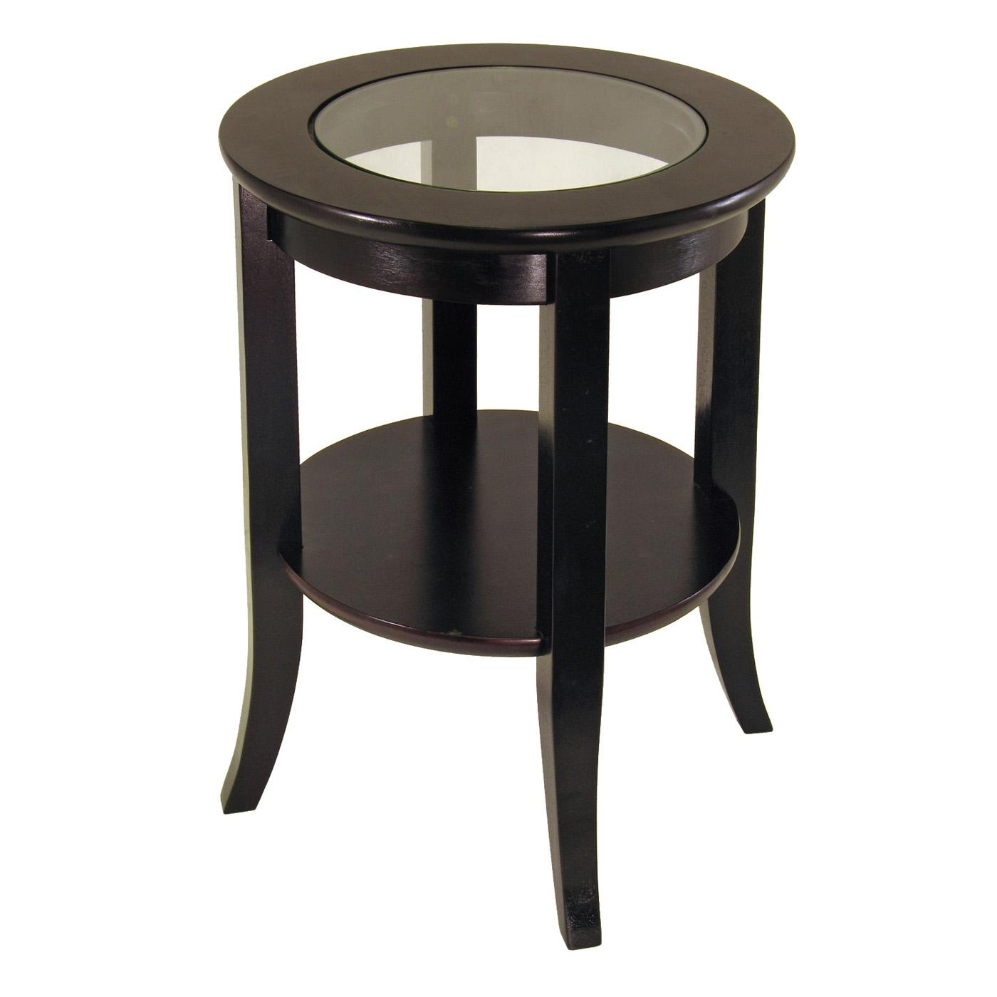 Genoa end table glass inset one shelf ojcommerce for Glass end tables