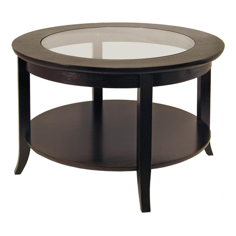 Glass Top Coffee Table Walmart: Genoa Coffee Table, Glass Inset And Shelf