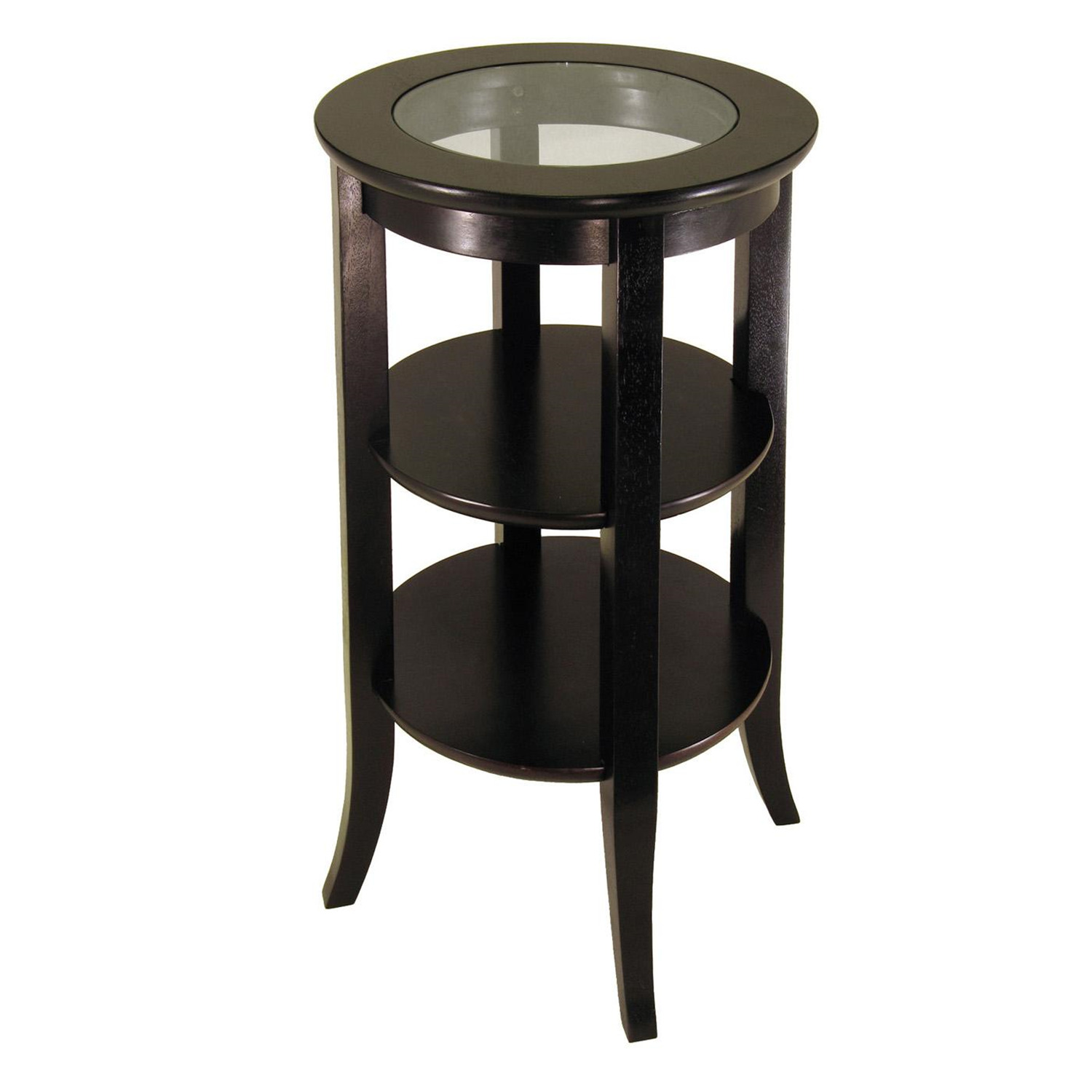 winsome wood genoa accent table inset glass two shelves ojcommerce. Black Bedroom Furniture Sets. Home Design Ideas