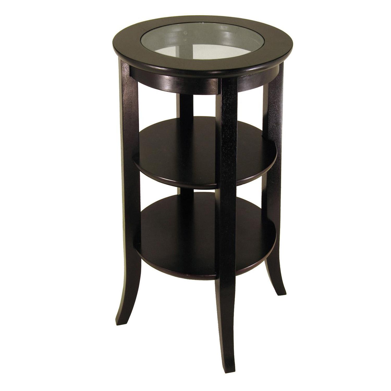 Astonishing Winsome Wood Genoa Accent Table Inset Glass Two Shelves Creativecarmelina Interior Chair Design Creativecarmelinacom