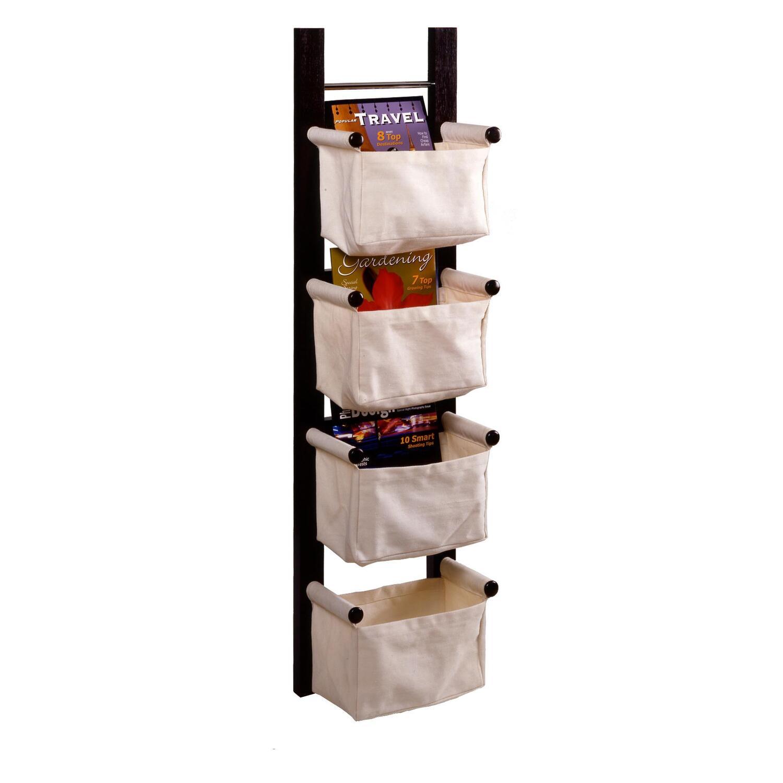 Storage Magazine Rack With 4 Canvas Baskets Ojcommerce