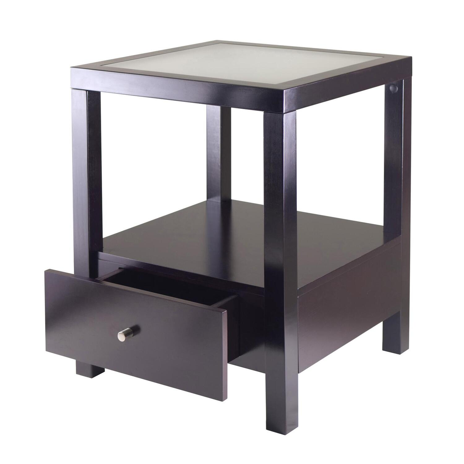 winsome copenhagen end table with glass top by oj commerce   - copenhagen end table with glass top