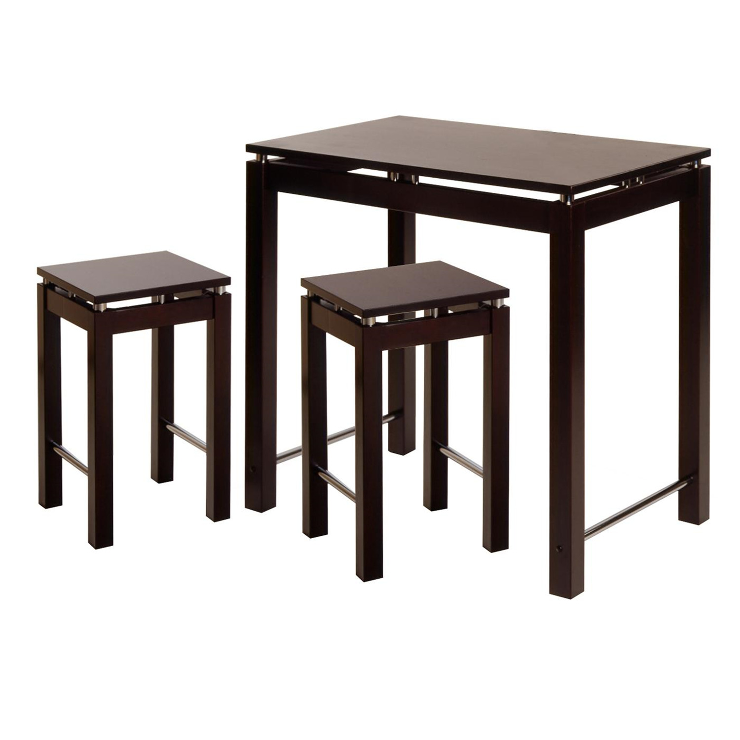 Linea 3pc pub kitchen set island table with 2 stools for Furniture kitchen set
