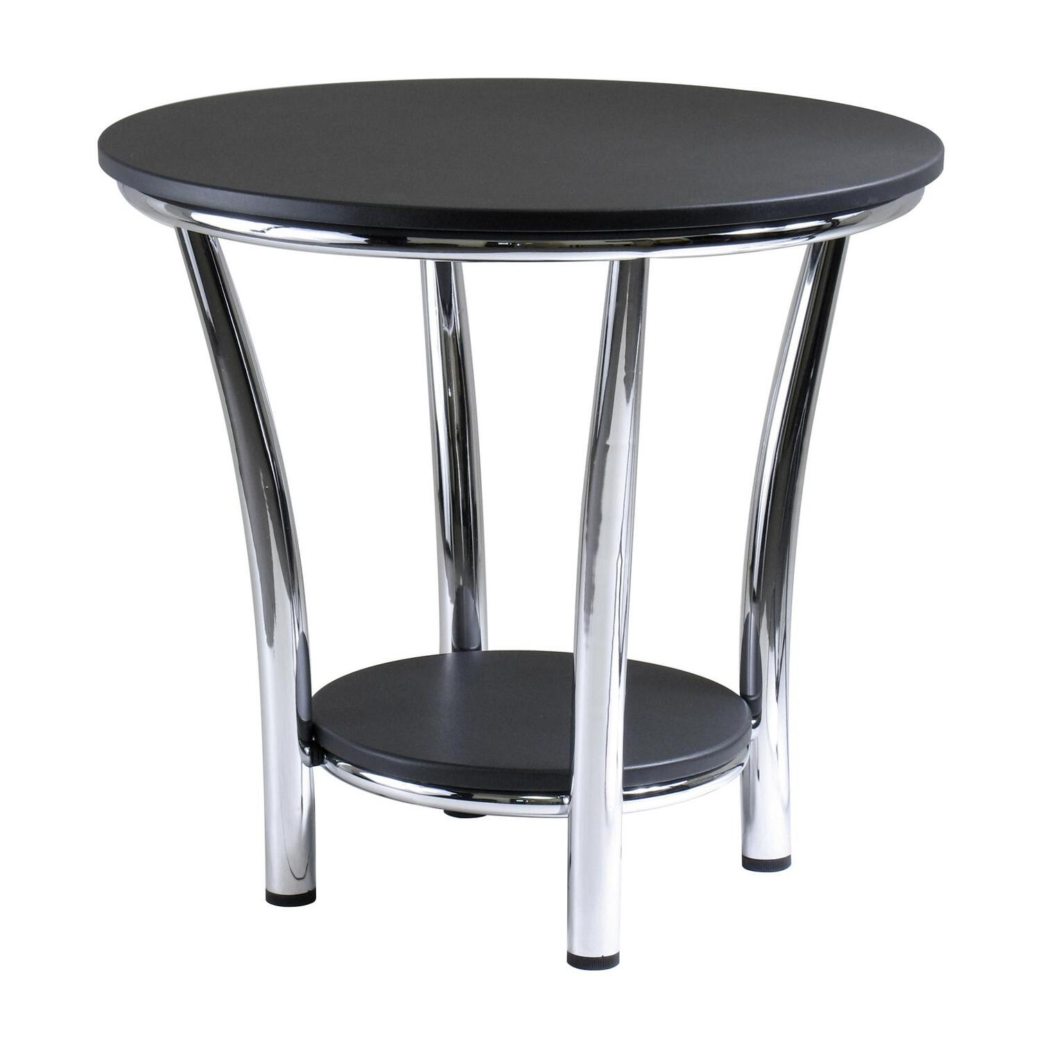 Maya round end table black top metal legs ojcommerce for Black wood end tables