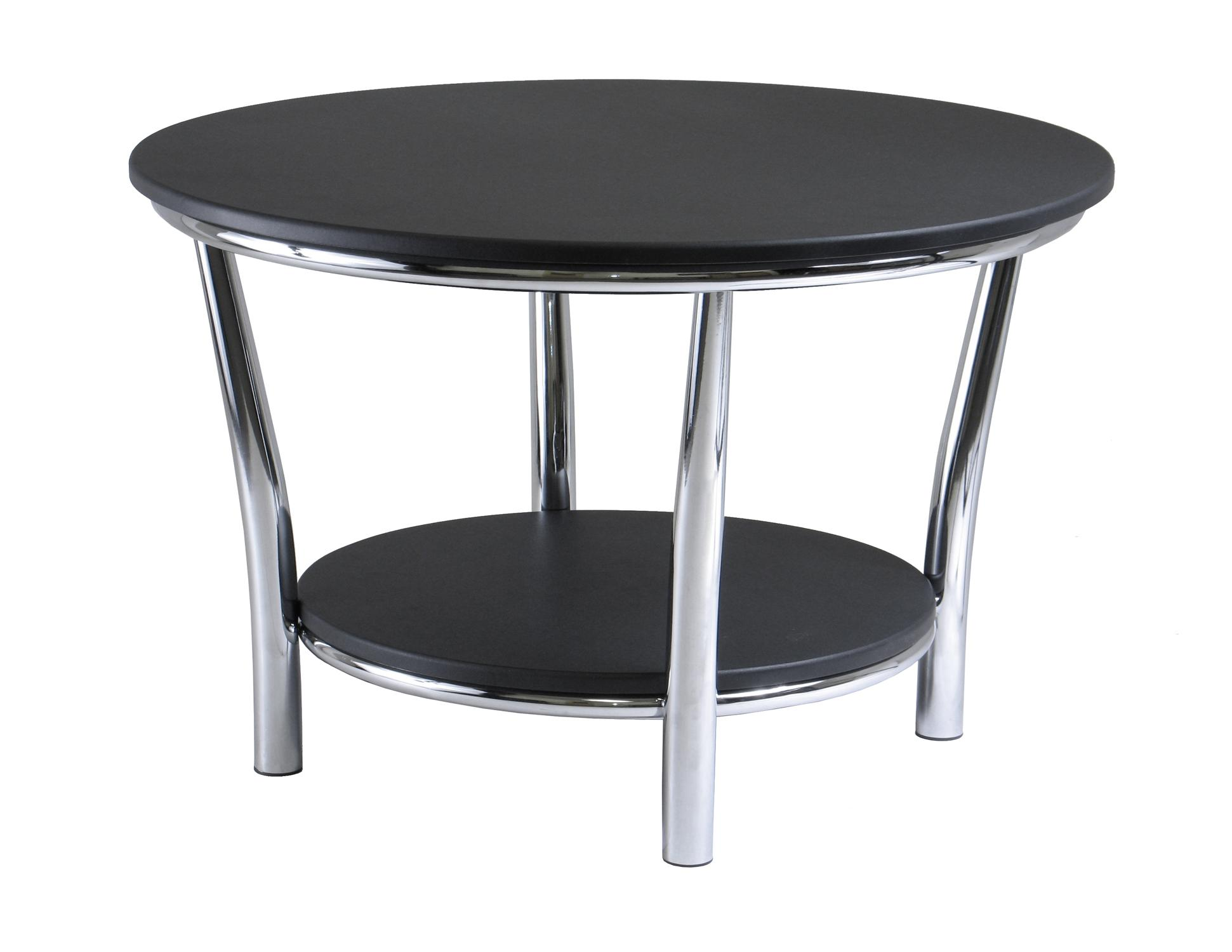 winsome maya round coffee table, black top, metal legsoj