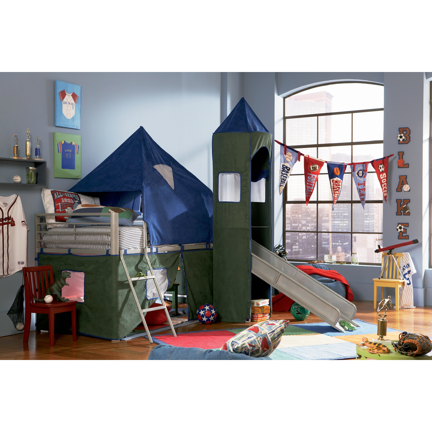 Twin Bed With Slide Part - 44: ... Bunk Beds With Slide And Tent