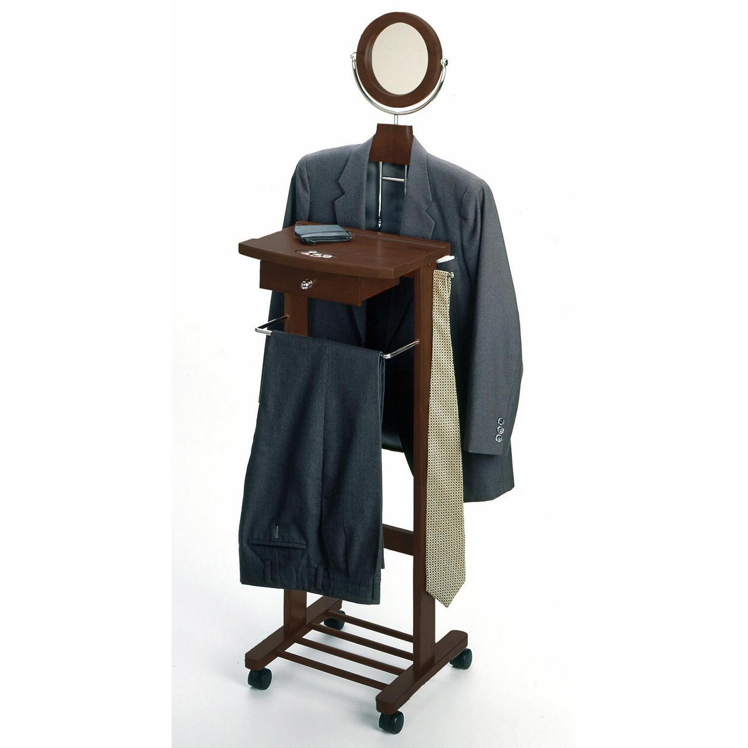 Winsome Wood Valet Stand With Mirror Drawer Tie Hook