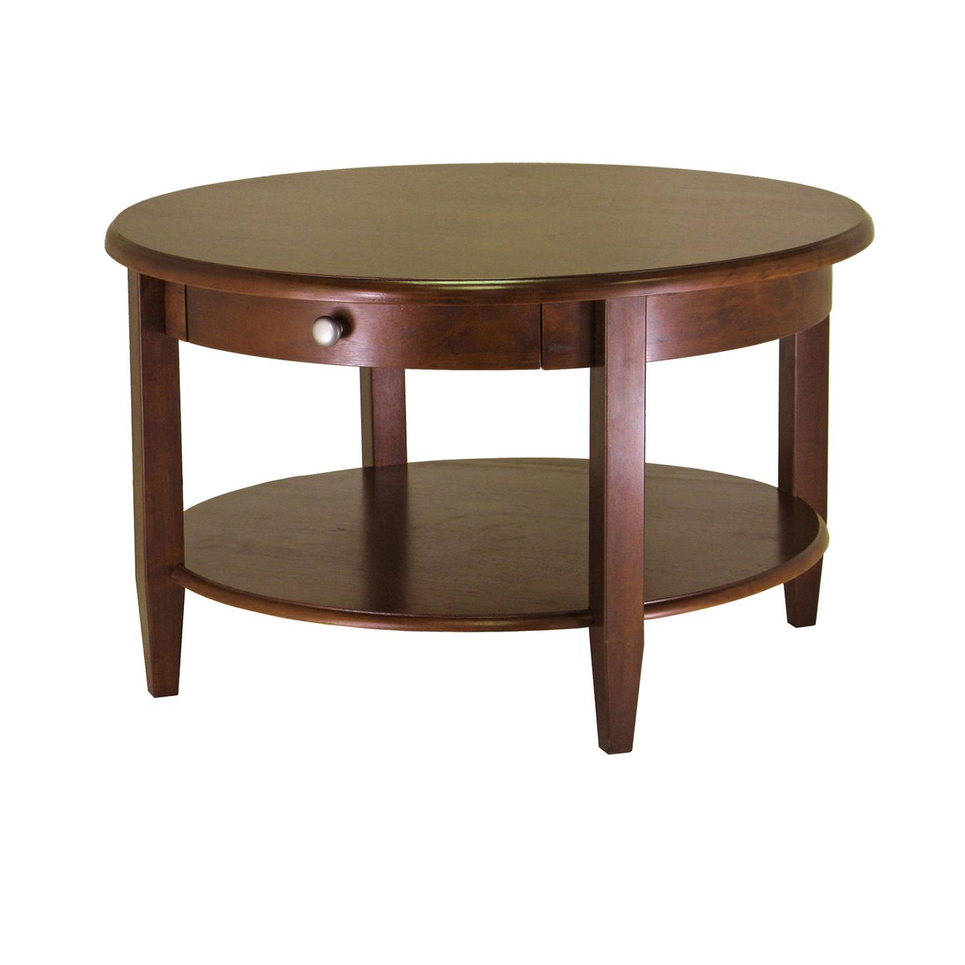 Concord Round Coffee Table With Drawer And Shelf Ojcommerce