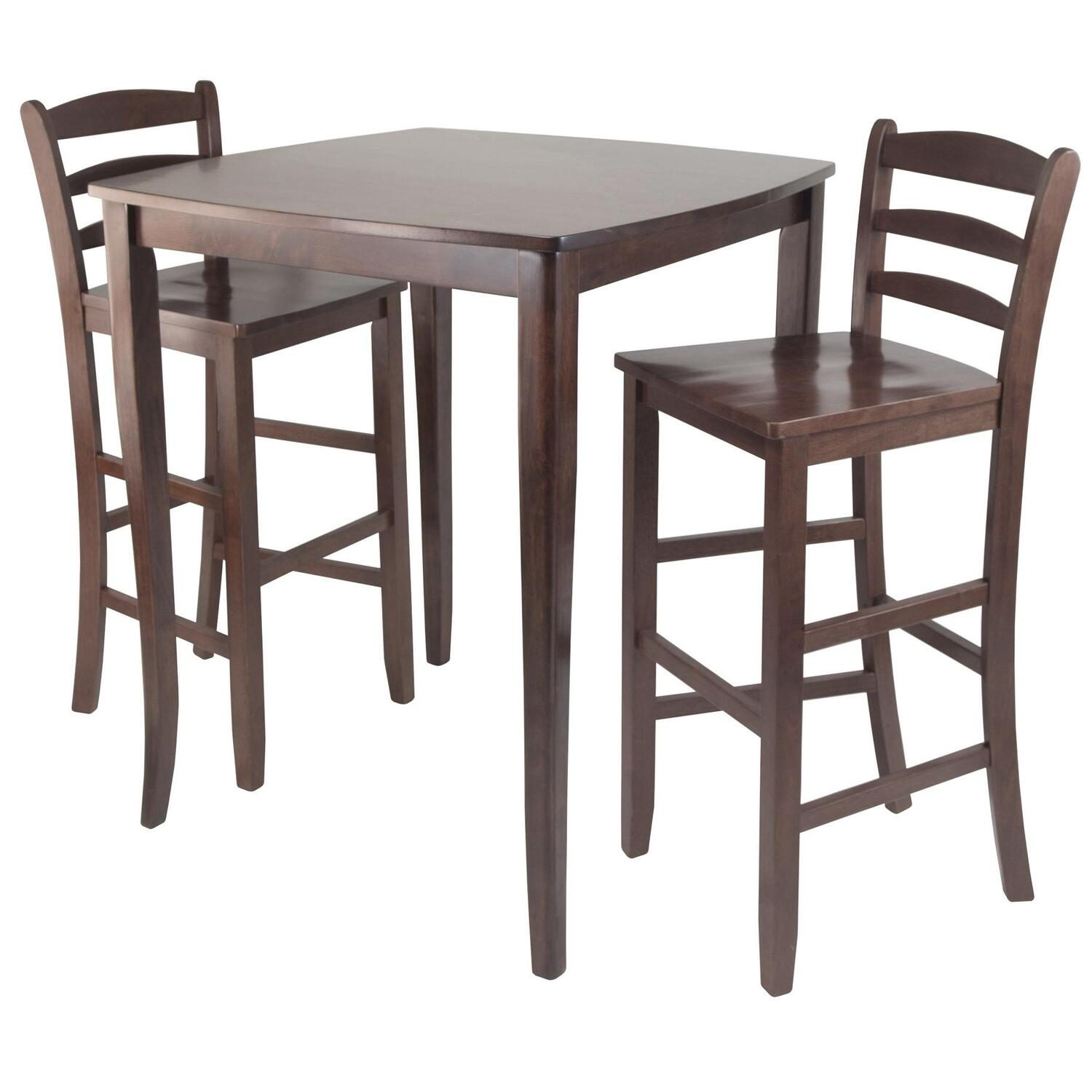 Incredible Winsome Wood 3Pc Inglewood High Pub Dining Table With Ladder Back Stool Lamtechconsult Wood Chair Design Ideas Lamtechconsultcom