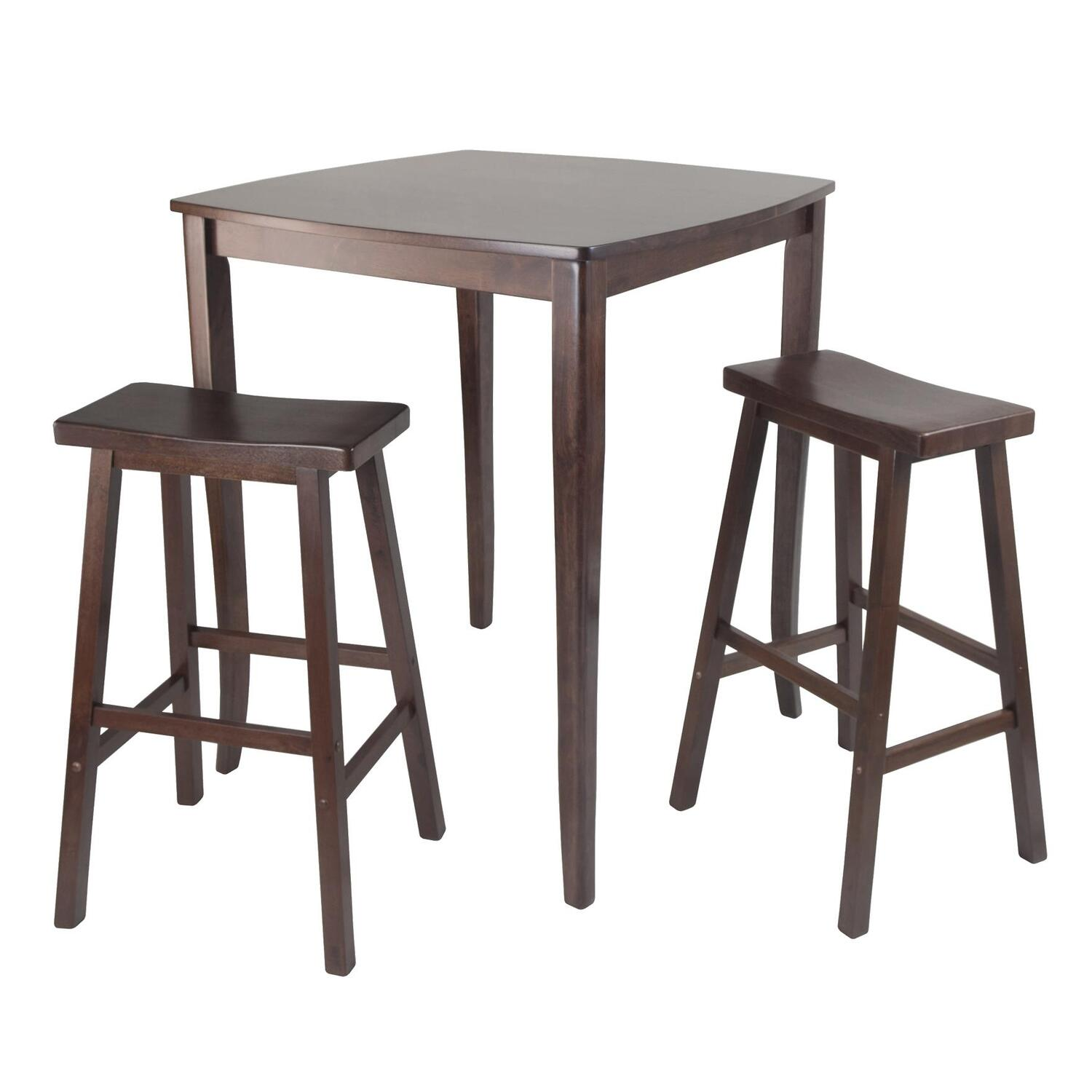 Outstanding Winsome Wood 3Pc Inglewood High Pub Dining Table With Saddle Stool Lamtechconsult Wood Chair Design Ideas Lamtechconsultcom