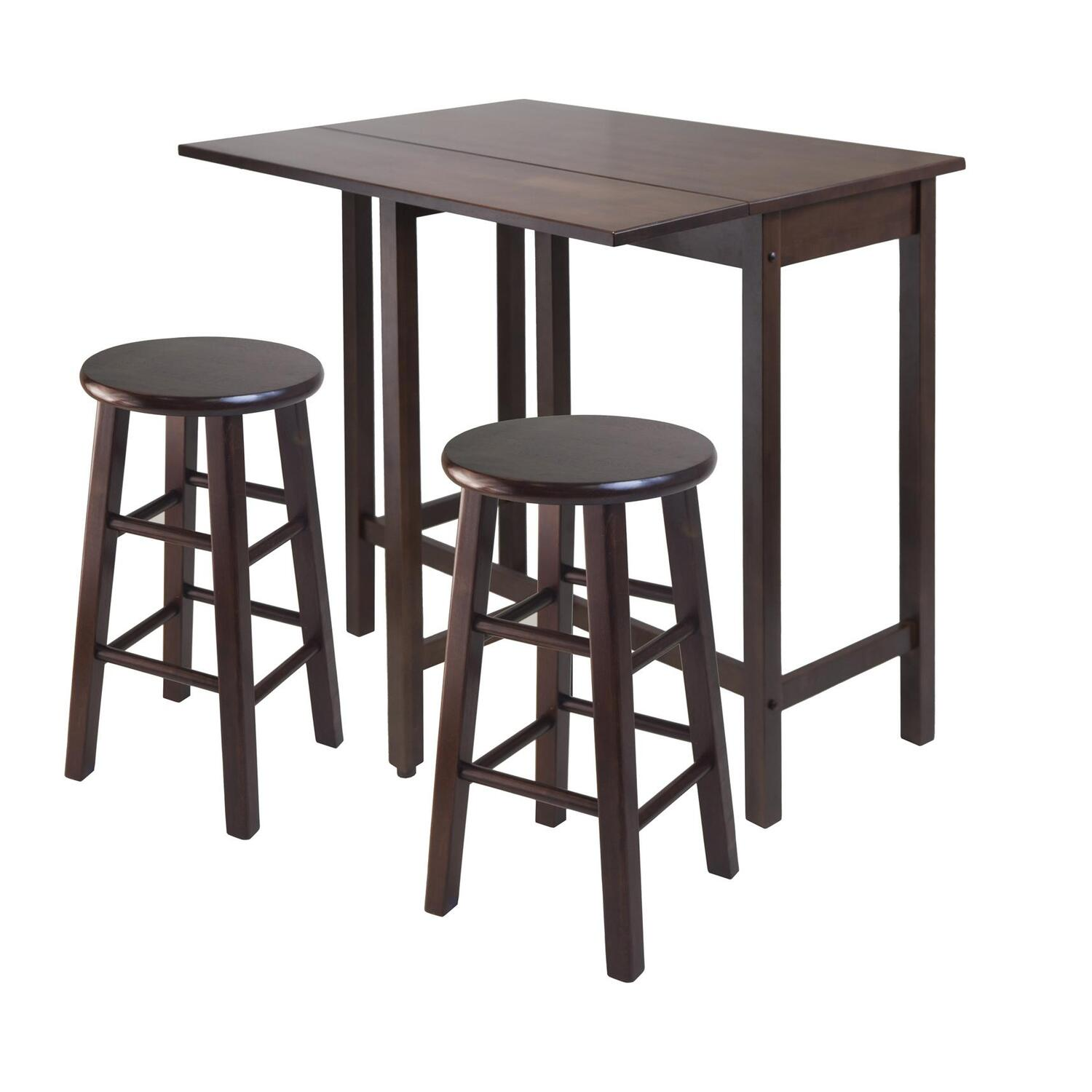 Winsome Drop Leaf Kitchen Island With  Square Stools