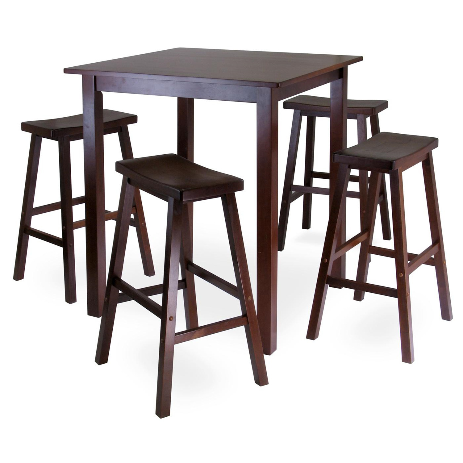 Parkland 5pc square high pub table set with 4 saddle seat for Bar stool table