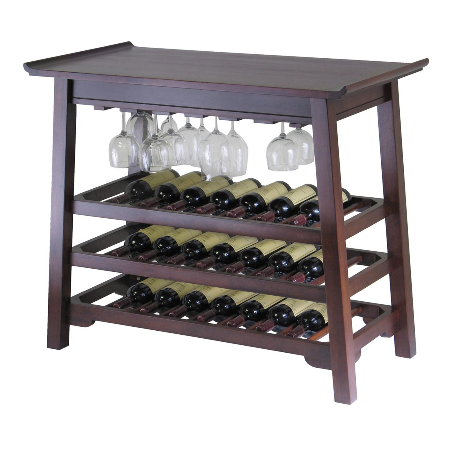 Chinois Console Wine Table With Glass Rack Ojcommerce