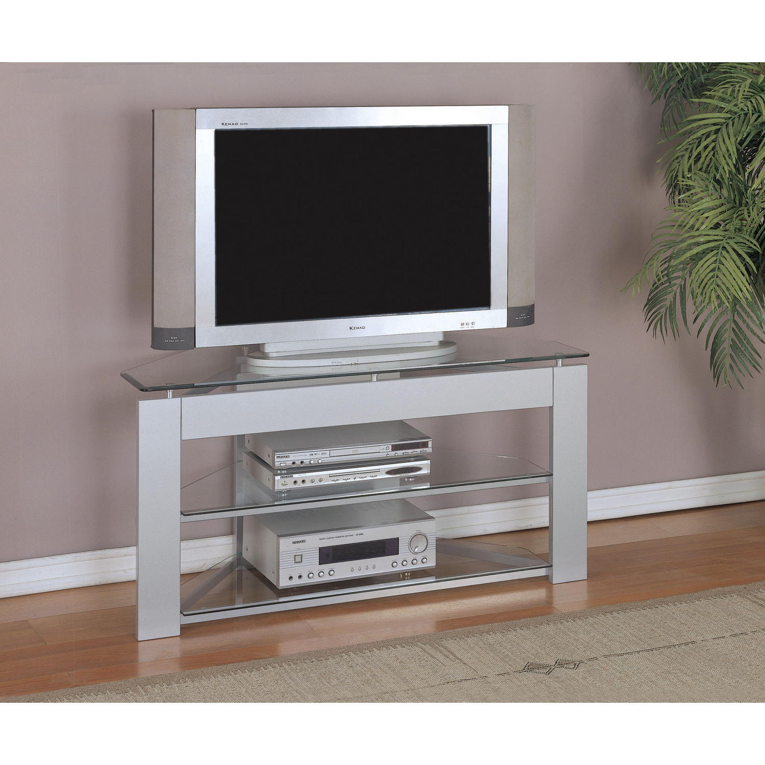 powell glossy silver tv stand by oj commerce    - glossy silver tv stand