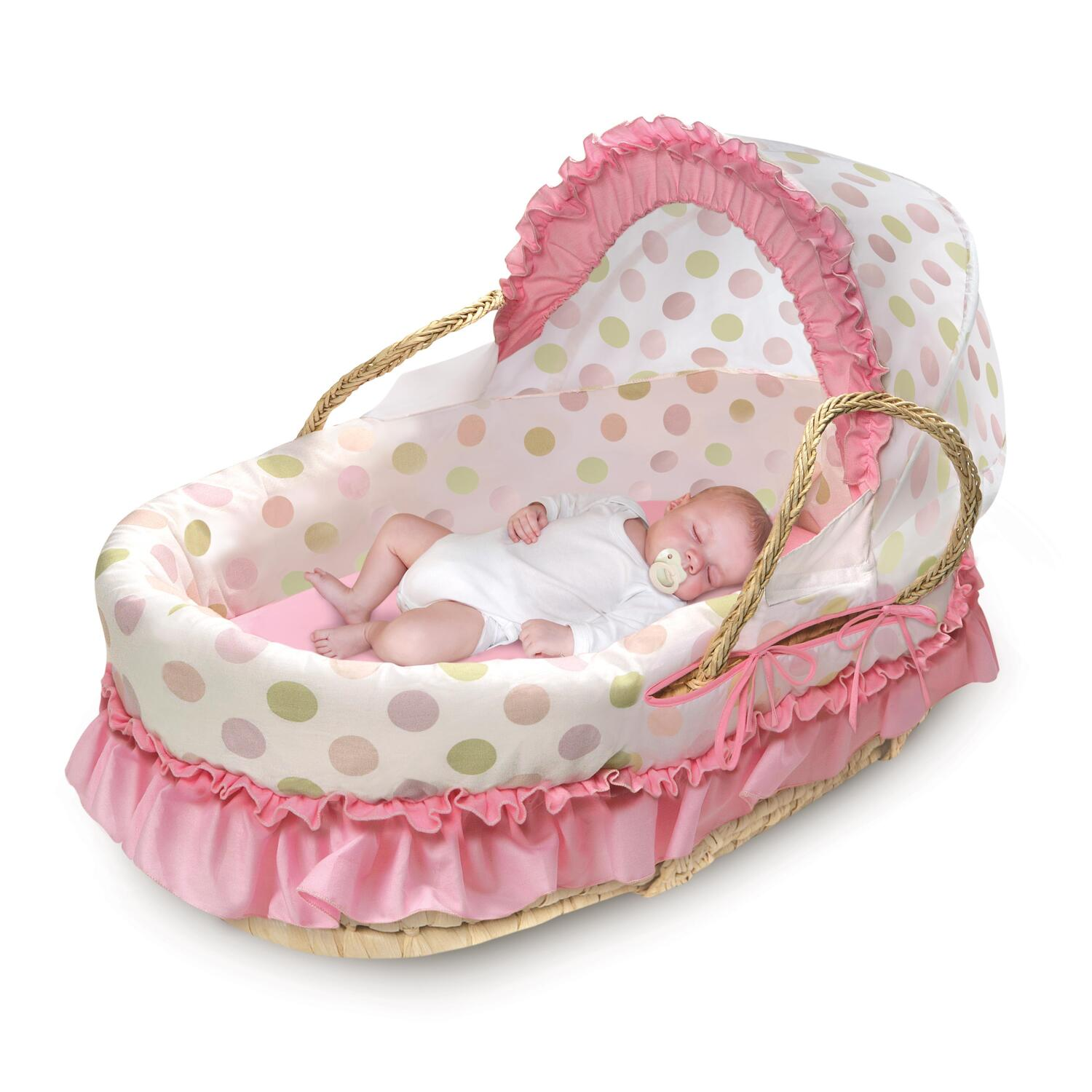 Moses Basket With Fabric Hood Amp Bedding Ojcommerce